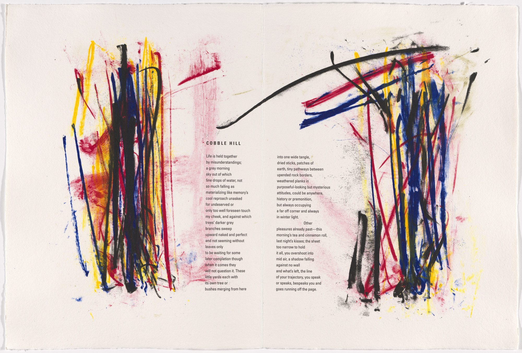 Joan Mitchell. Double page in-text plate (folios 5 verso and 6) from Poems. 1992
