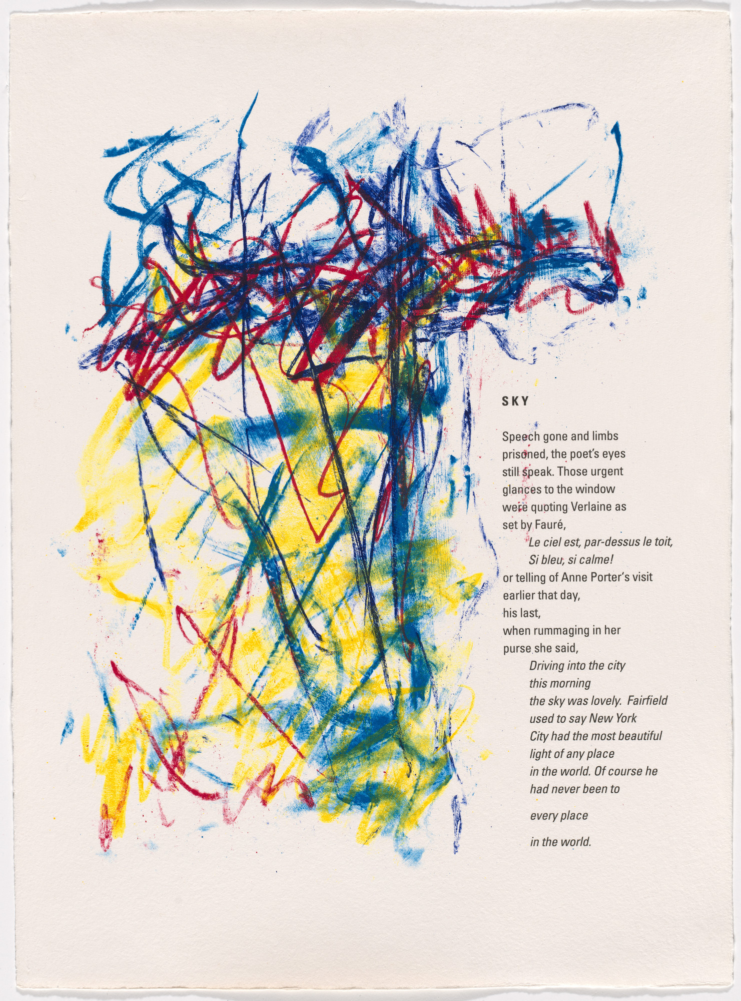 Joan Mitchell. In-text plate (folio 9) from Bridge. 1992