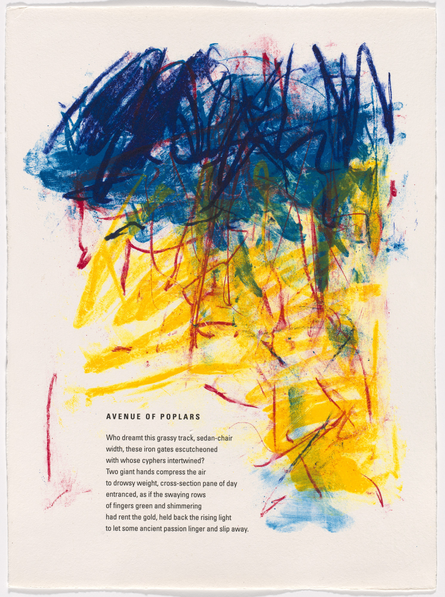 Joan Mitchell. In-text plate (folio 11) from Poems. 1992