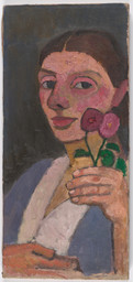 Paula Modersohn-Becker. Self-Portrait with Two Flowers in Her Raised Left Hand. 1907