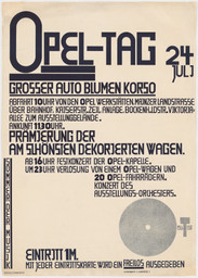 Kurt Schwitters. Poster for Opel Day: Great car and flower parade (Opel-Tag: Grosser Auto Blumen Korso). 1927