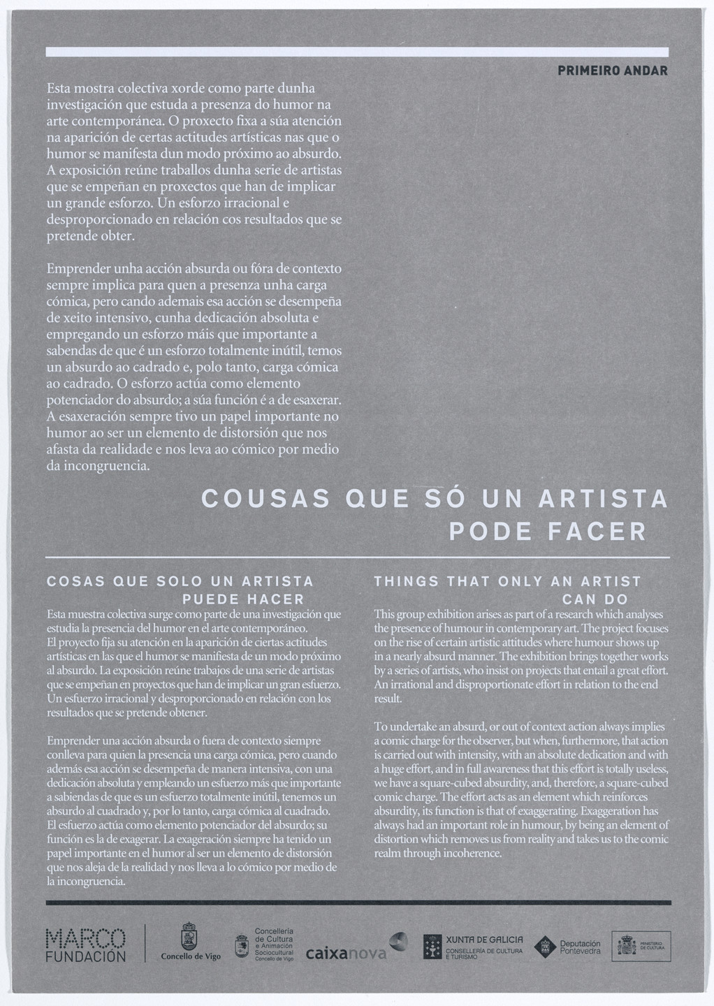 Aleksandra Mir. Flyer for Things That Only an Artist Can Do, MARCO Museo de Arte Contemporánea de Vigo, Spain, January 29–May 2, 2010. 2010