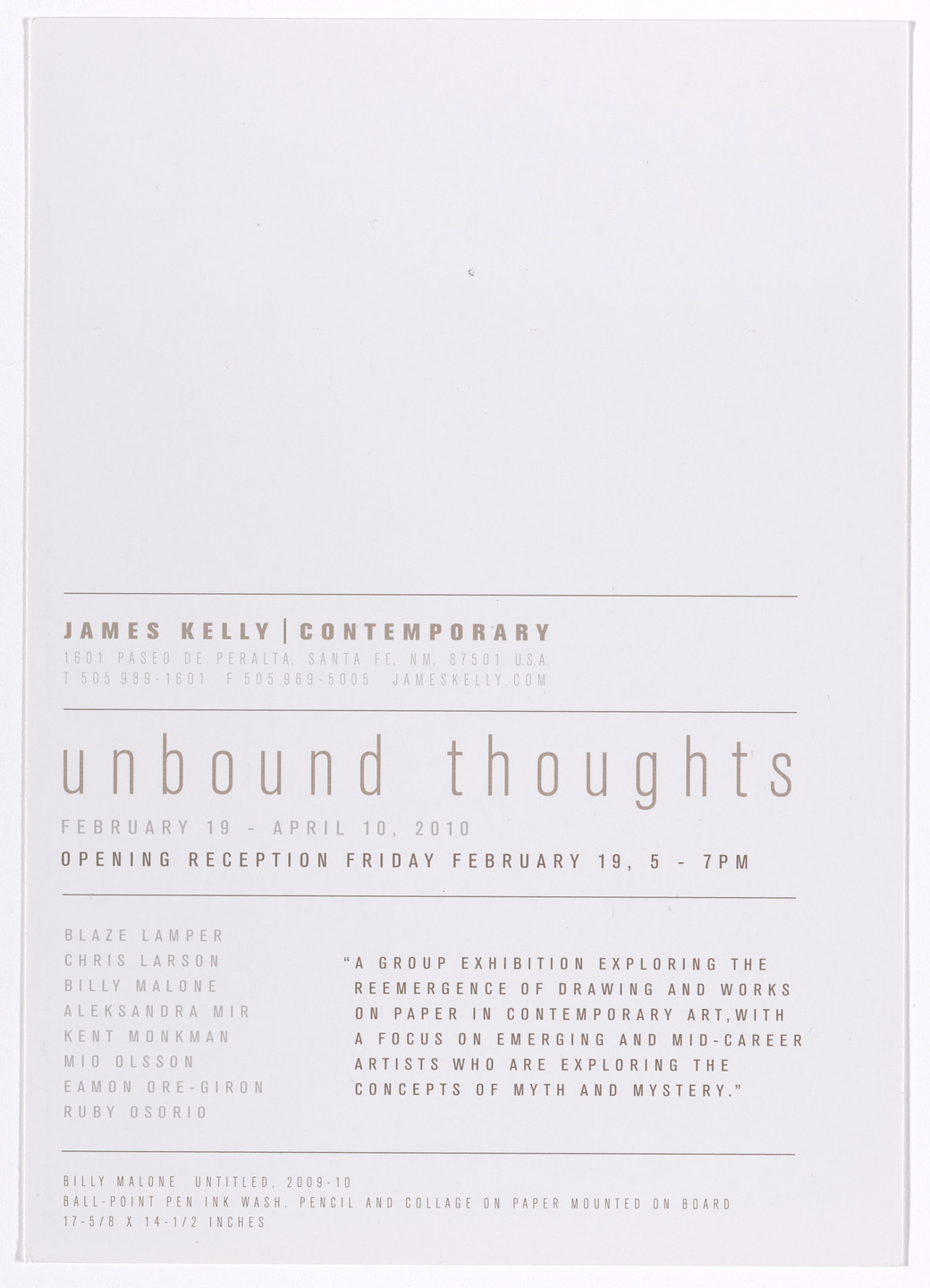 Aleksandra Mir. Announcement card for Unbound Thoughts, James Kelly Contemporary, Santa Fe, February 19–April 10, 2010. 2010