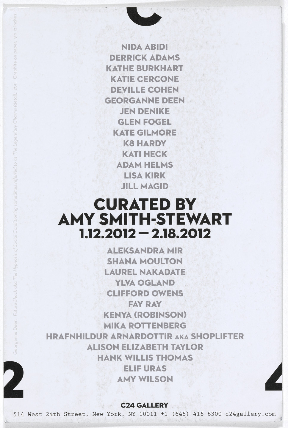 Aleksandra Mir. Announcement card for Campaign, C24 Gallery, New York, January 12–February 18, 2012. 2012
