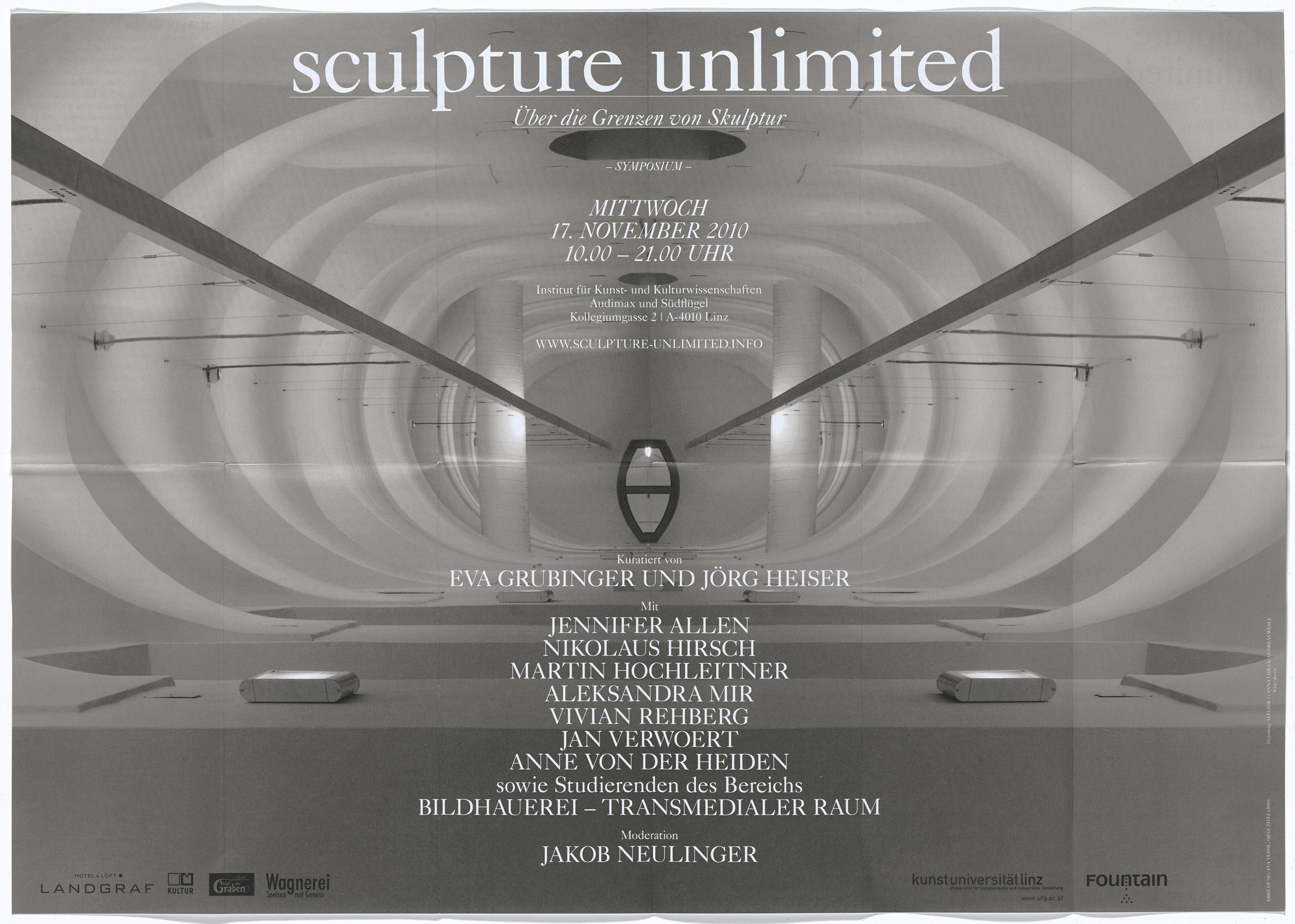 Aleksandra Mir. Poster for Sculpture Unlimited symposium, Institute of Fine Arts and Cultural Studies, Kunstuniversität Linz, Austria, November 17, 2010. 2010–11