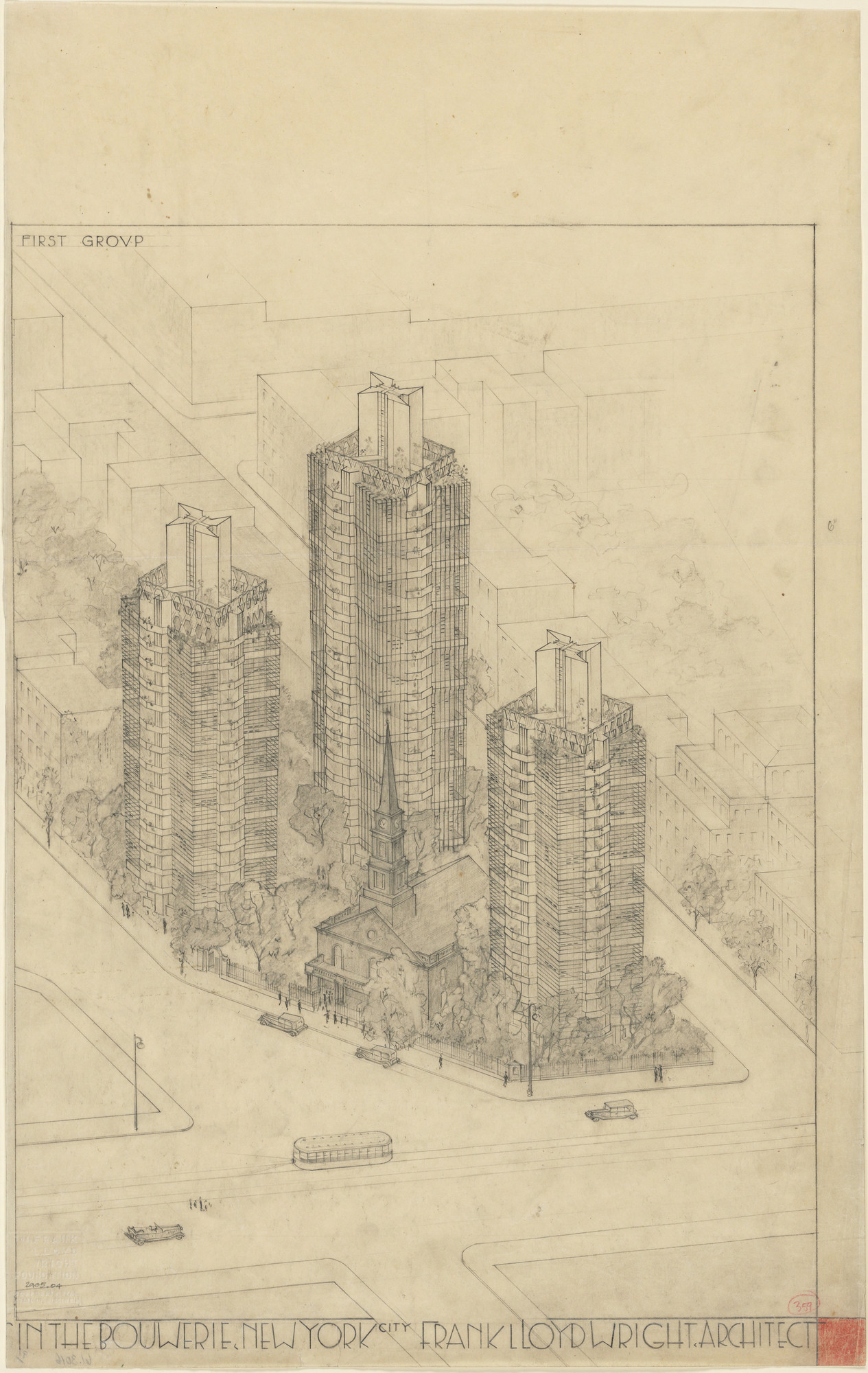 Frank Lloyd Wright. St. Mark's Tower project, New York, NY (Aerial perspective). 1927–1931