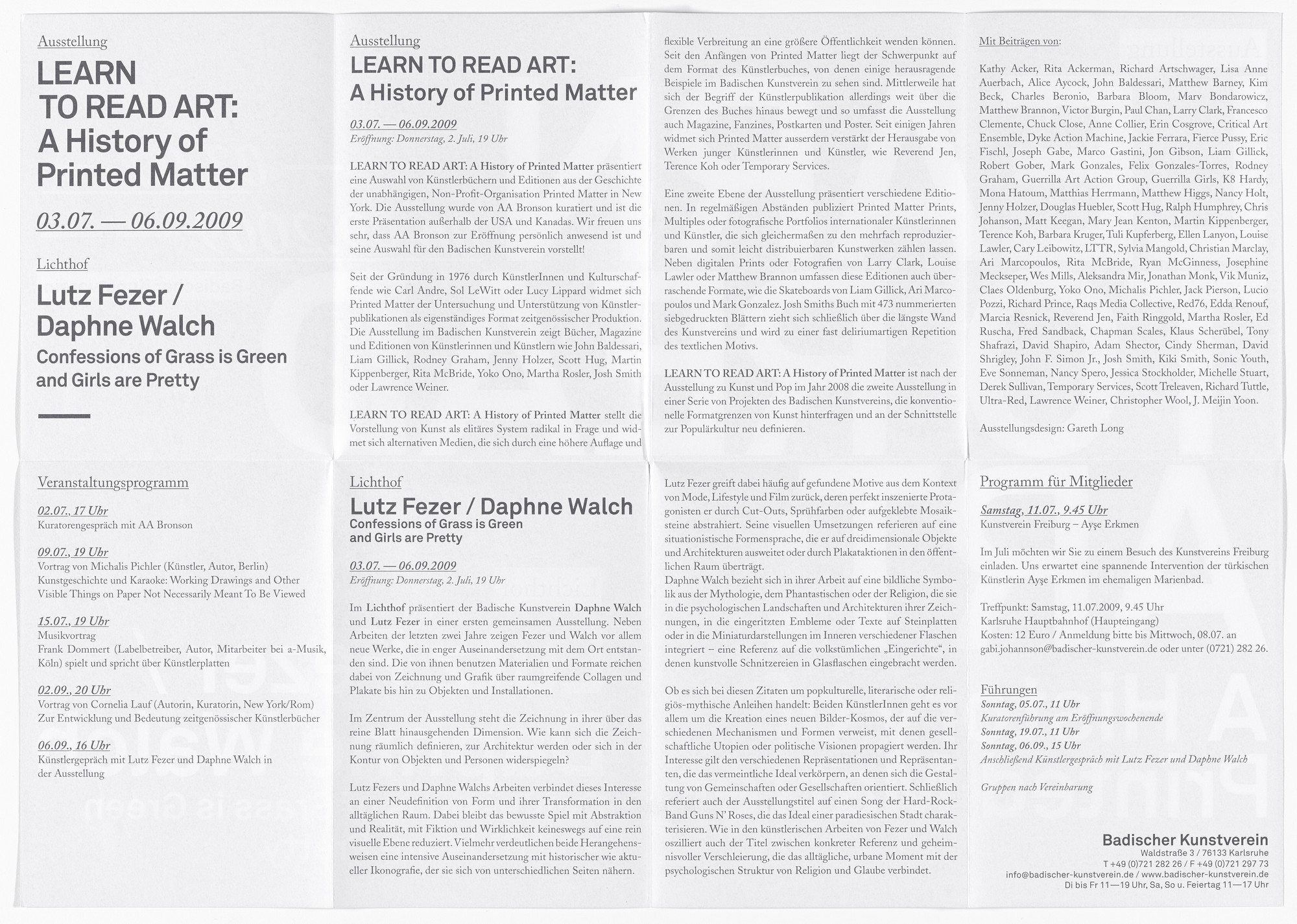 Aleksandra Mir. Poster for Learn to Read Art: A History of Printed Matter, Badischer Kunstverein, Karlsruhe, July 3–September 6, 2009. 2009