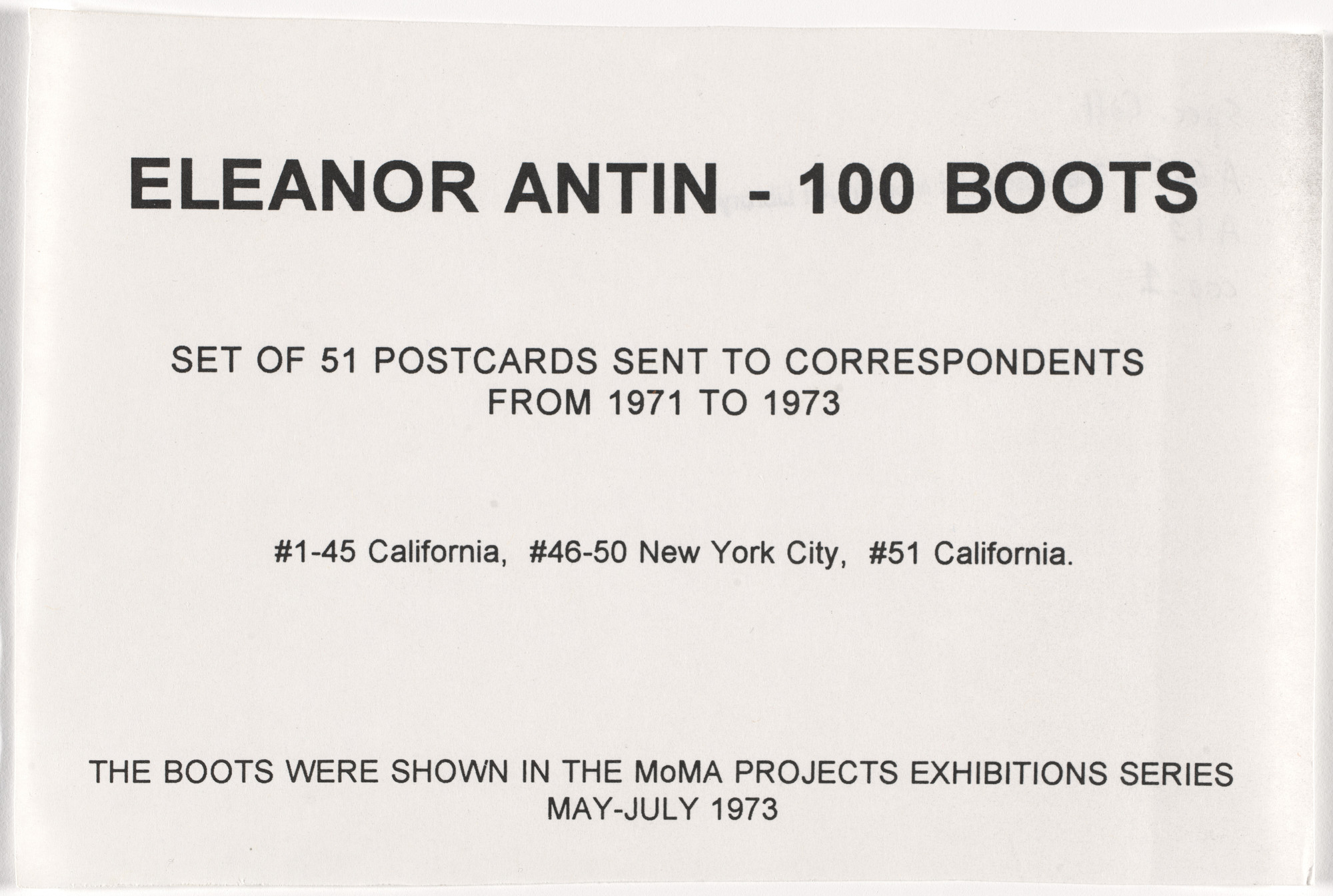 Eleanor Antin. 100 Boots. 1971-73
