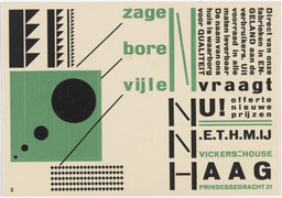 Piet Zwart. Advertisement for Vickers House, The Hague. 1923