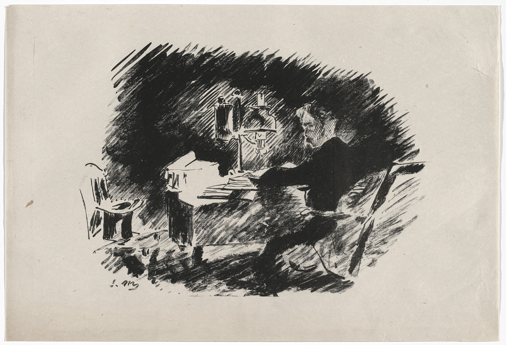 Édouard Manet. Sous la lampe (Under the Lamp) (plate 1) from Le Corbeau (The Raven). 1875