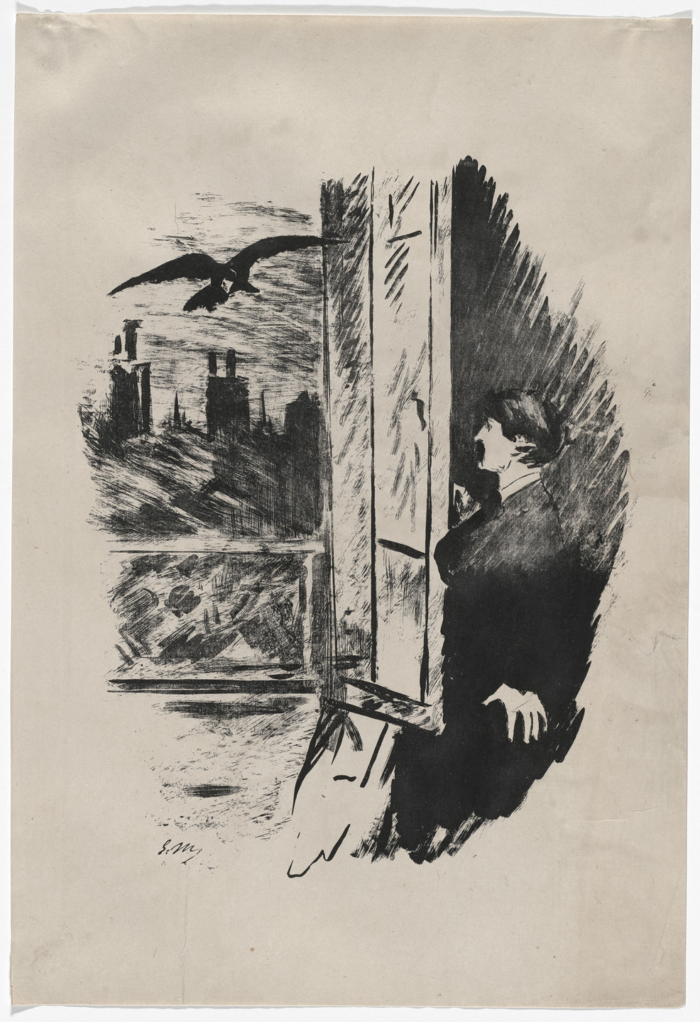 Édouard Manet. A la fenêtre (At the Window) (plate 2) from Le Corbeau (The Raven). 1875