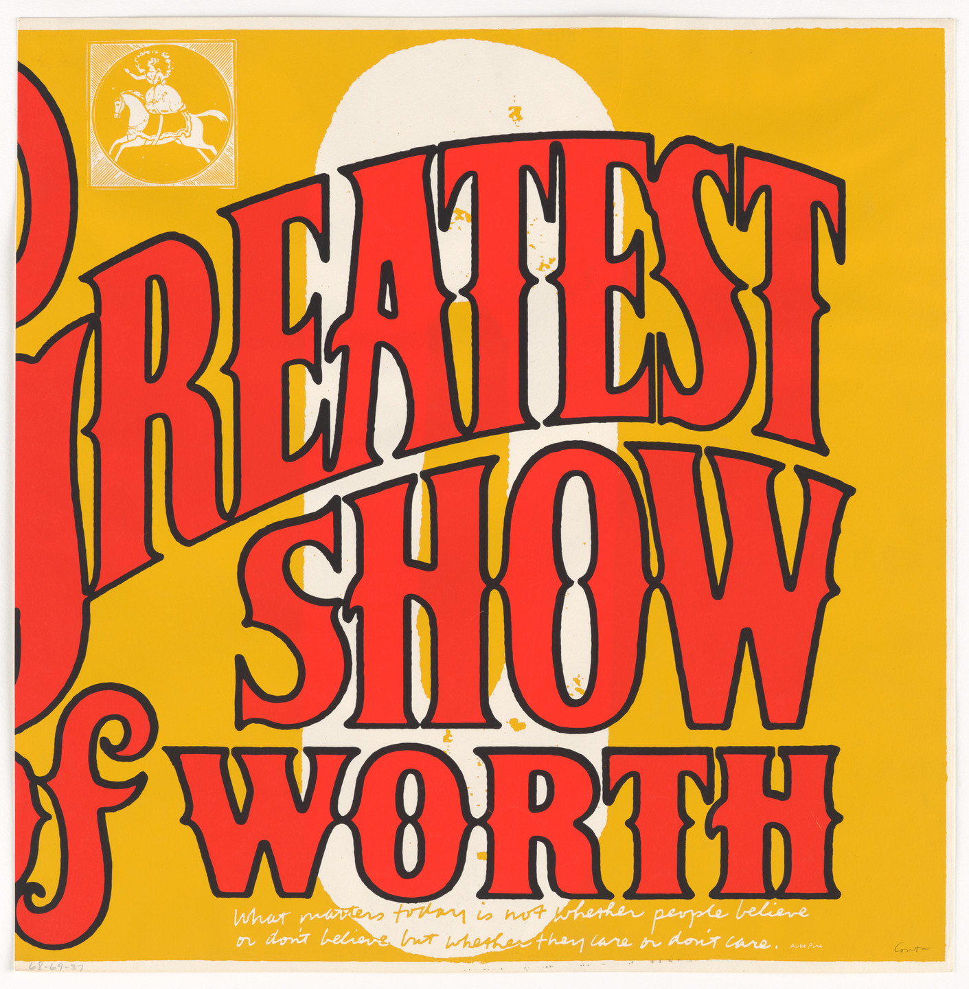 Corita Kent (Sister Mary Corita). O greatest show of worth from circus alphabet. 1968