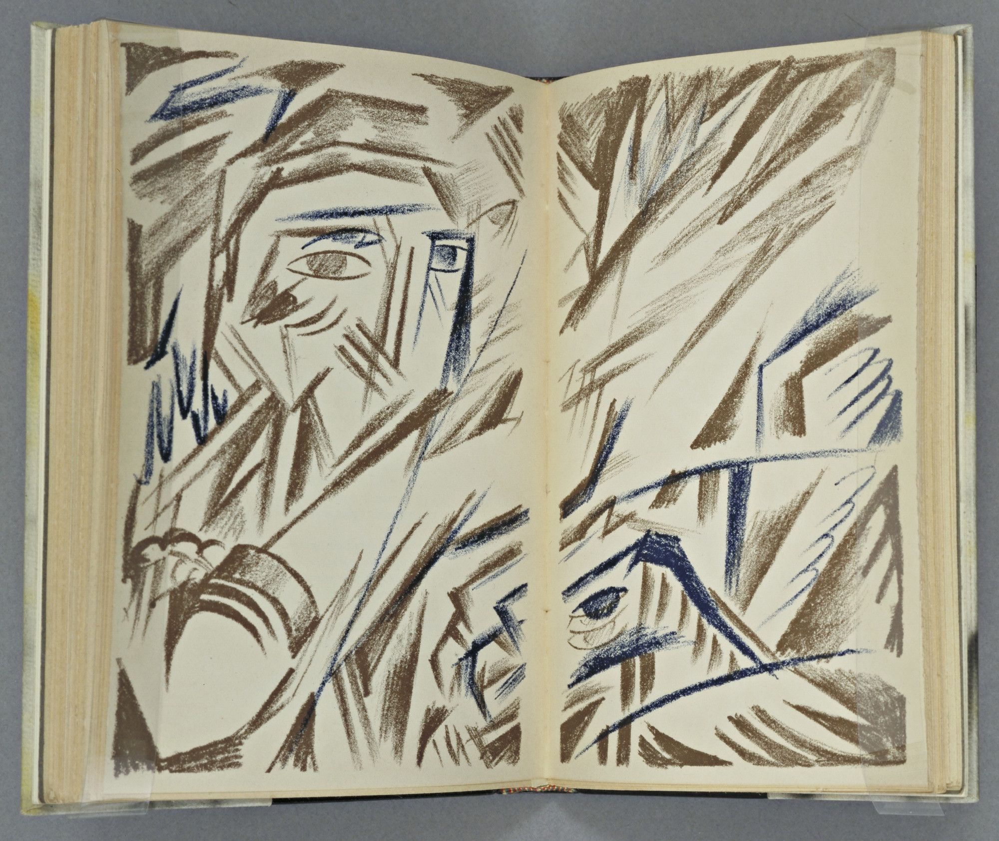 Natalia Goncharova. Double page plate (between pages 96 and 97) from Vertogradari Nad Lozami (Gardeners over the Vines). 1913
