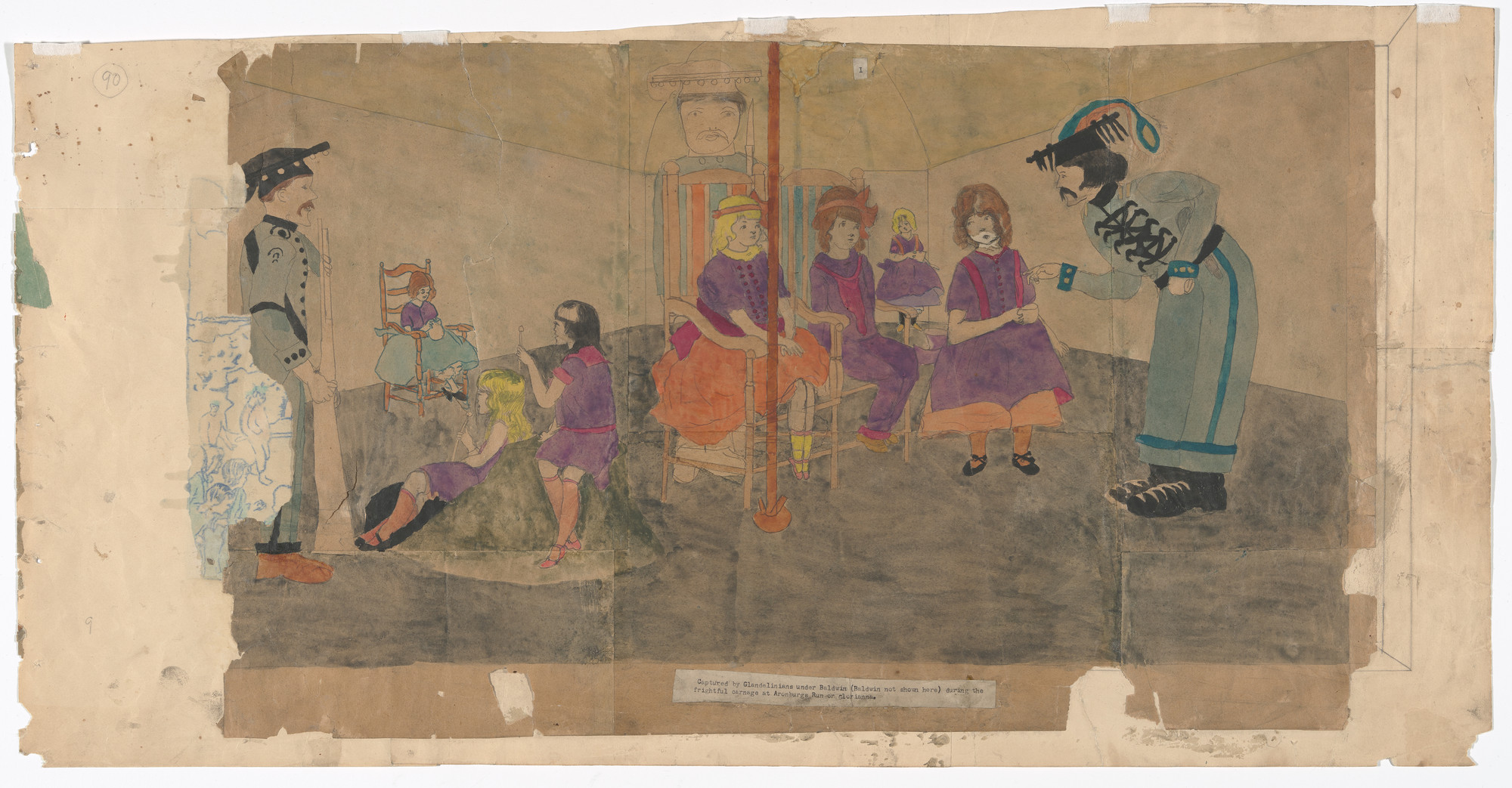 Henry Darger. a) Captured by Glandelinians under Baldwin (Baldwin not shown here) during the frightful carnage at Aronburgs Run or Glorianna  b) Picture No Two of the same scenes. (n.d.)