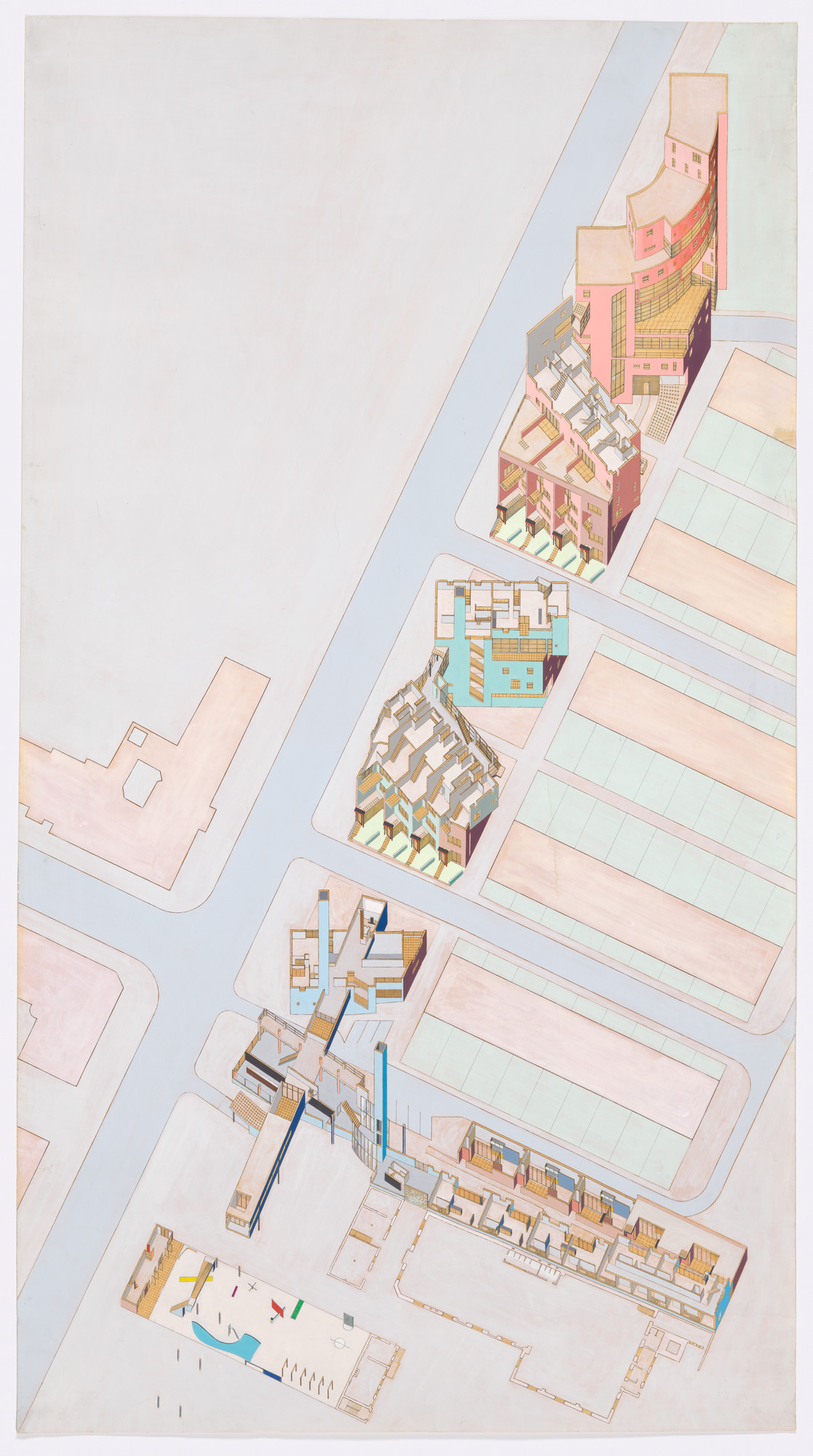 Elia Zenghelis, Zoe Zenghelis. Lützowstrasse Housing, IBA Housing Competition project, Berlin, Germany (Cutaway axonometric). 1980