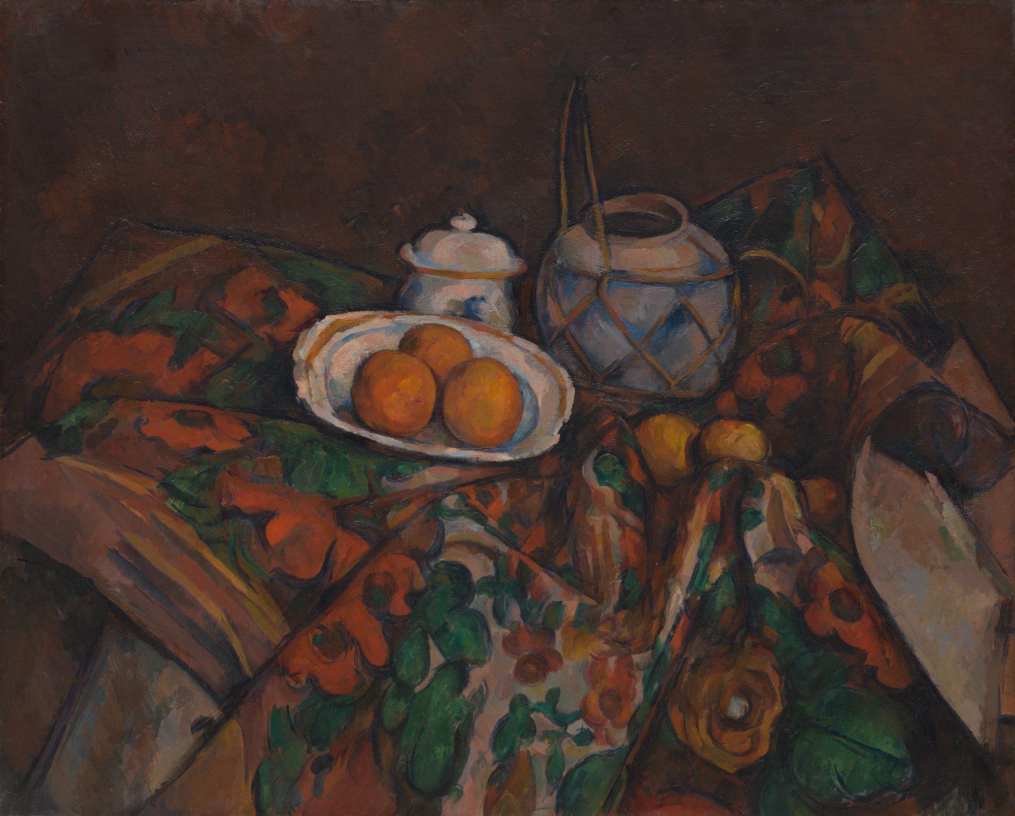 Paul Cézanne. Still Life with Ginger Jar, Sugar Bowl, and Oranges. 1902-06
