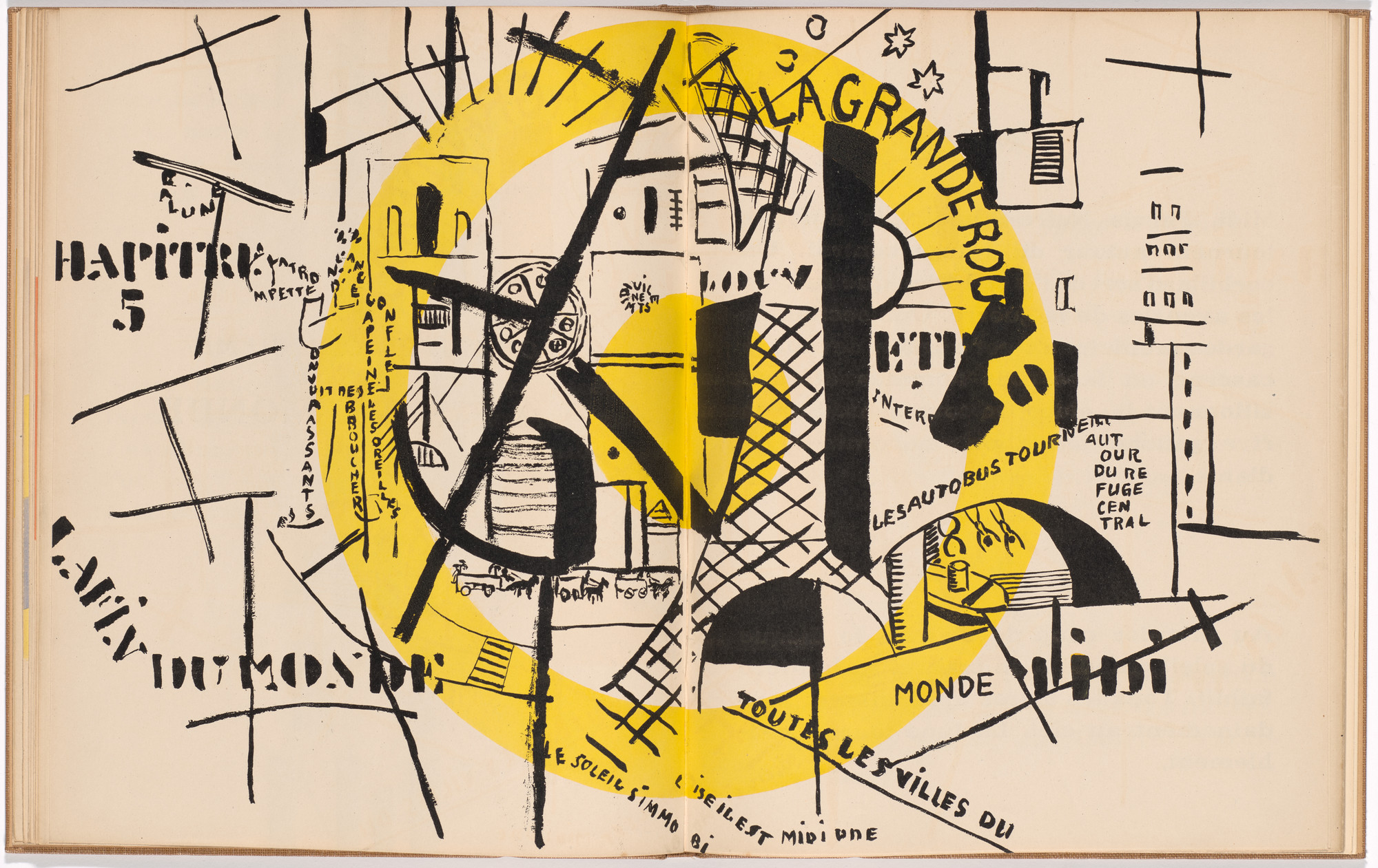 Fernand Léger. Double page plate (folios 17 verso and 18) from La Fin du monde filmée par l'ange de N.-D. (The End of the World Filmed by the Angel of Notre Dame). 1919