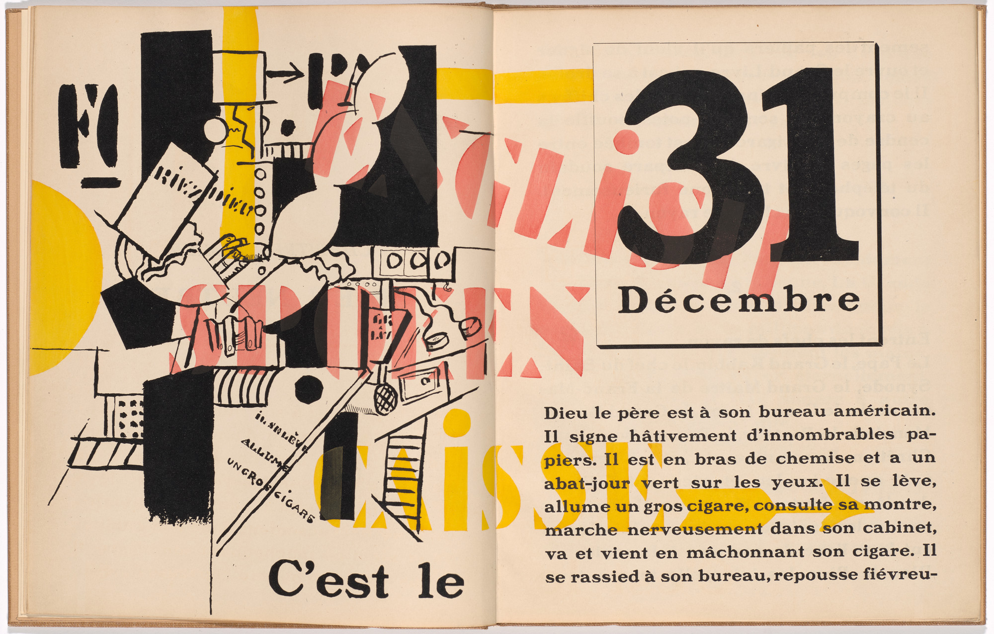 Fernand Léger. In-text plate (folios 3 verso and 4) from La Fin du monde filmée par l'ange de N.-D. (The End of the World Filmed by the Angel of Notre Dame). 1919