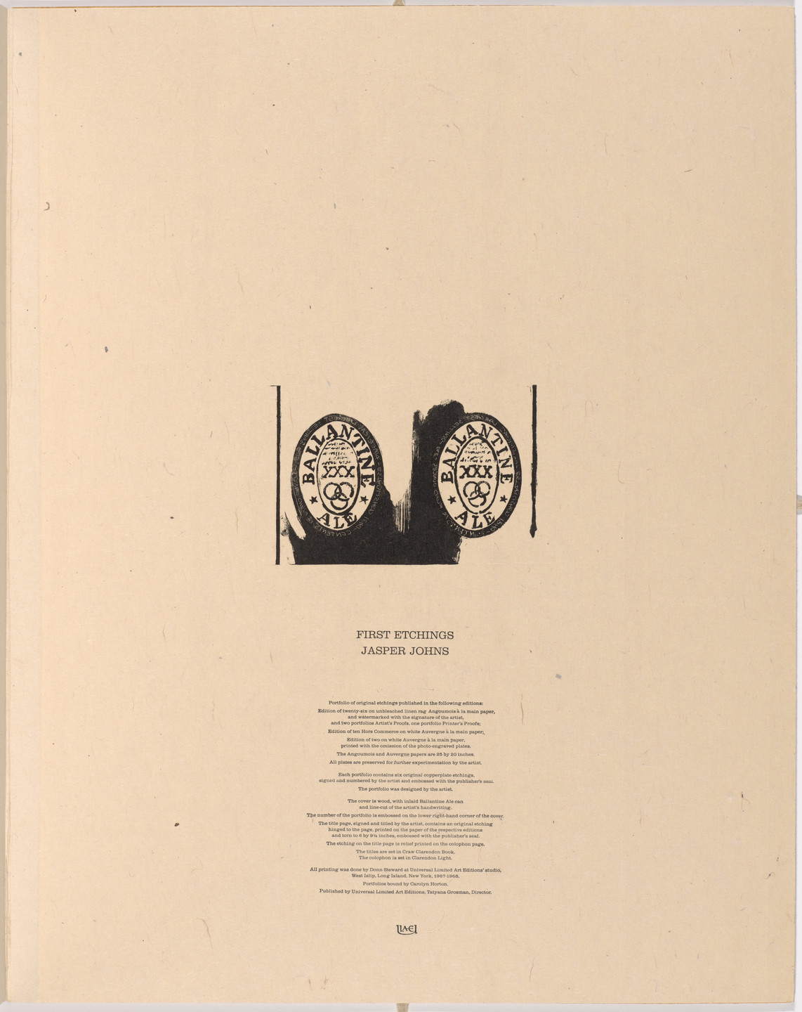 Jasper Johns. Ale Cans (colophon) from 1st Etchings. 1967