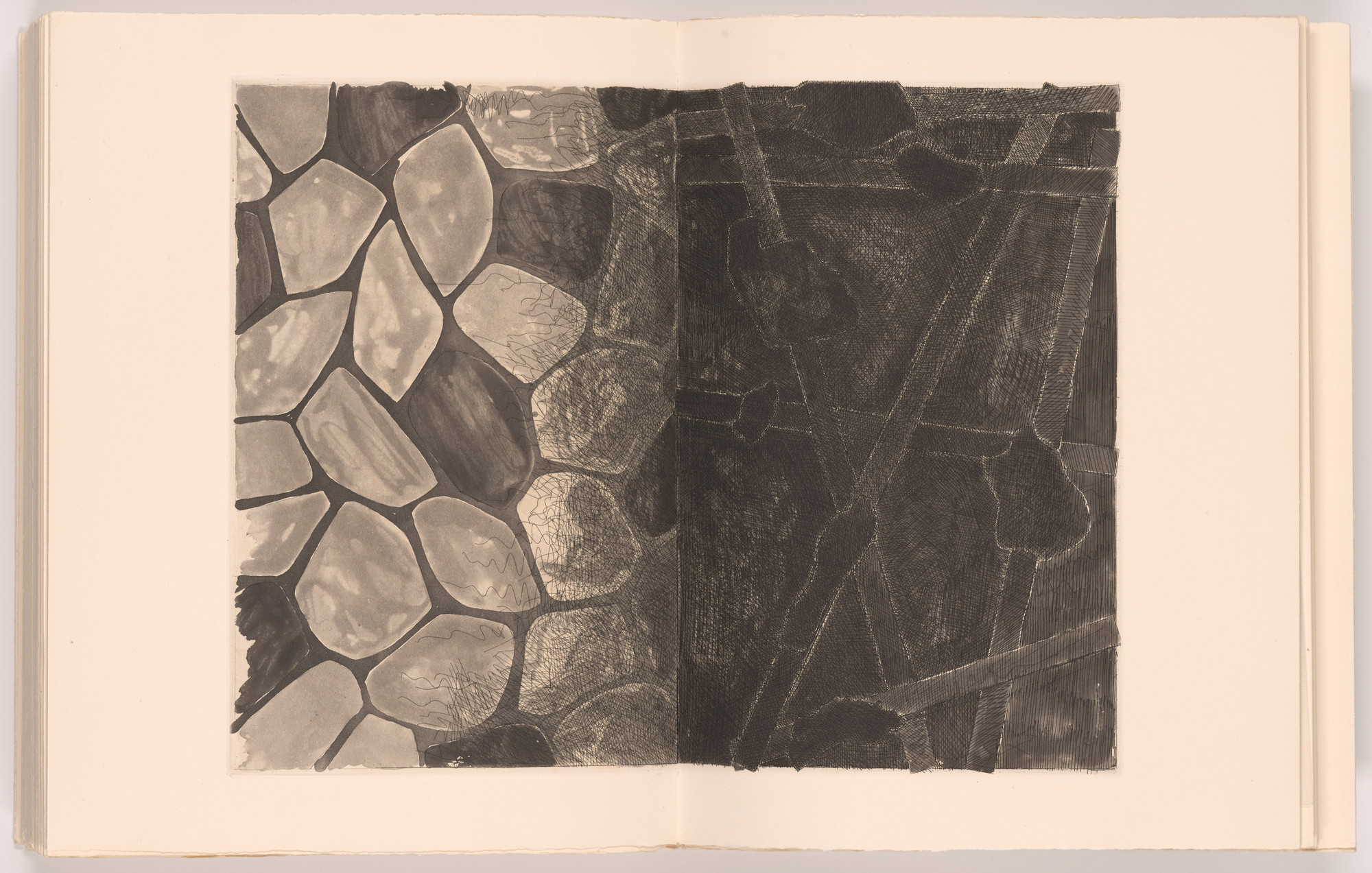Jasper Johns. Flagstones and Casts (double page plate, folios 53 and 54) from Foirades/Fizzles. 1975–76, published 1976
