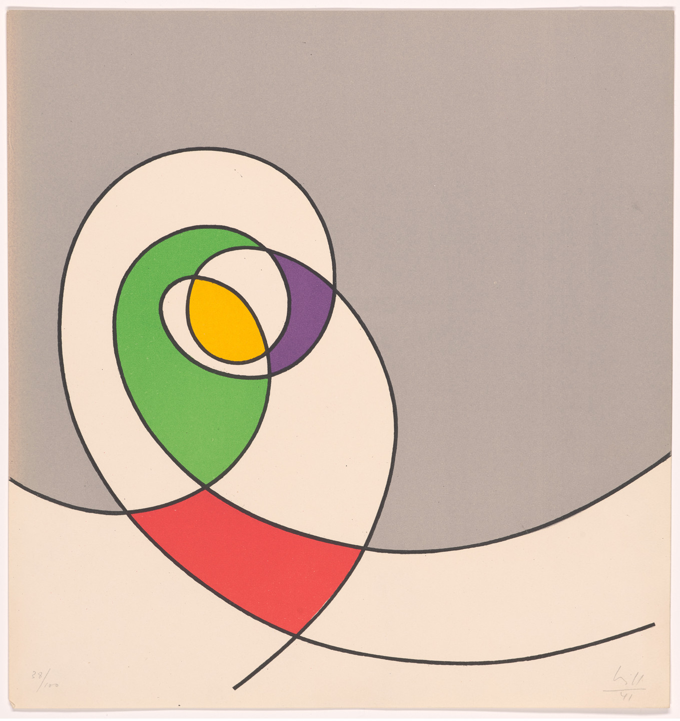 Max Bill. Plate (folio 6) from 5 Constructionen + 5 Compositionen. 1941