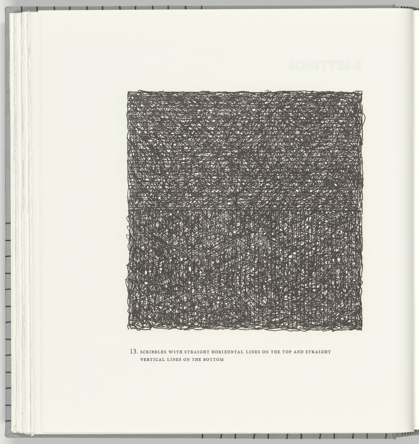 Sol LeWitt. Scribbles with Straight Horizontal Lines on the Top and Straight Vertical Lines on the Bottom (plate 13) from Squarings. 2003