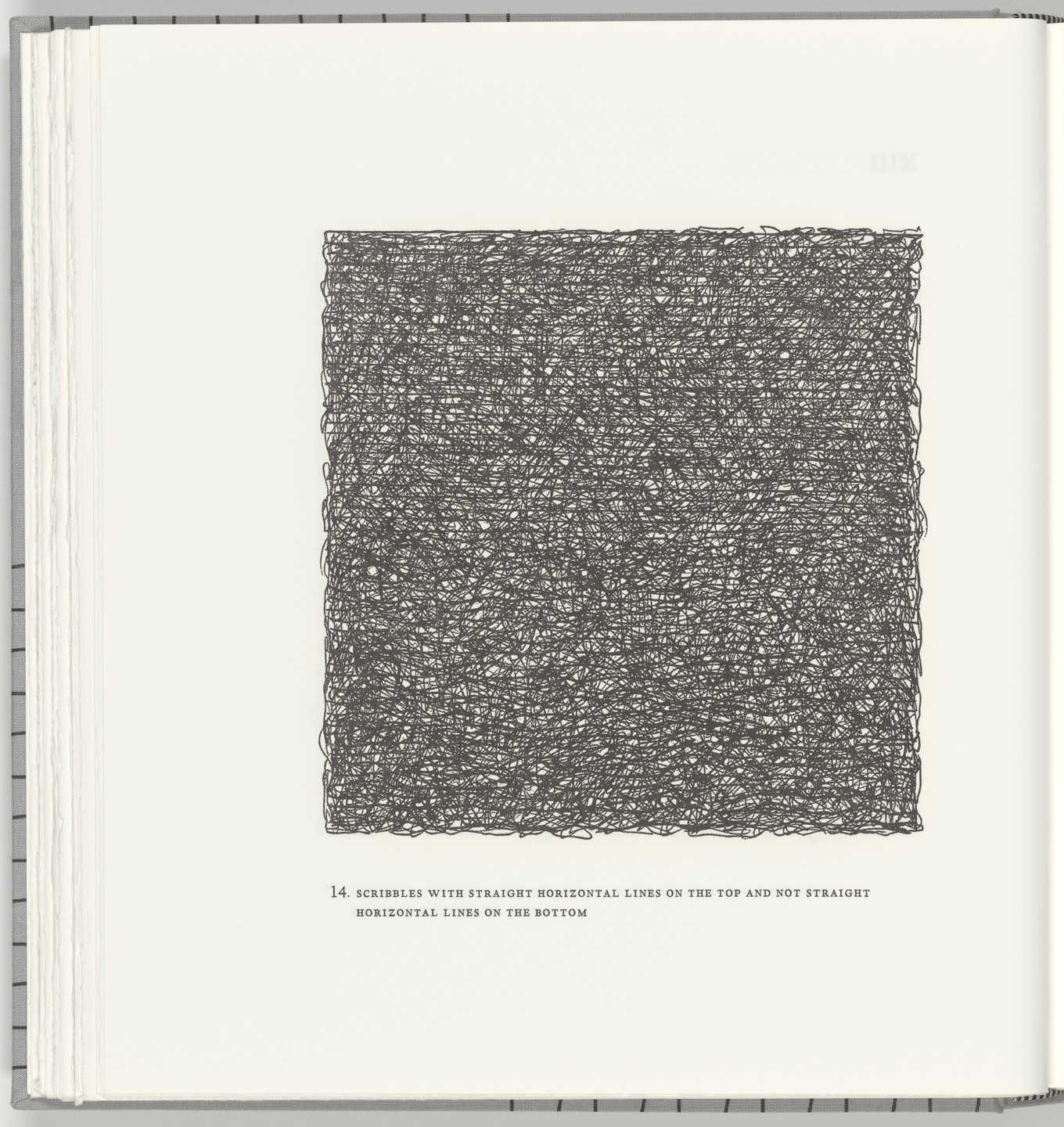 Sol LeWitt. Scribbles with Straight Horizontal Lines on the Top and Not Straight Horizontal Lines on the Bottom (plate 14) from Squarings. 2003