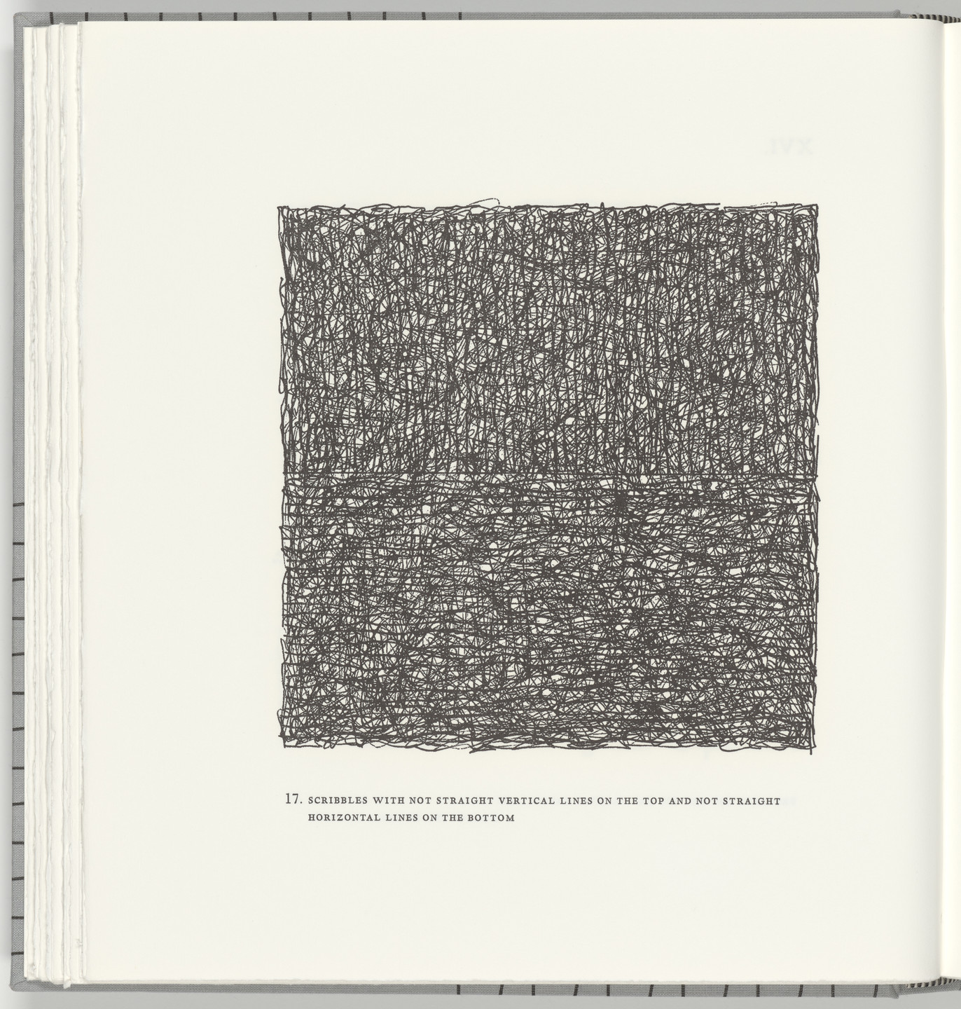 Sol LeWitt. Scribbles with Not Straight Vertical Lines on the Top and Not Straight Horizontal Lines on the Bottom (plate 17) from Squarings. 2003