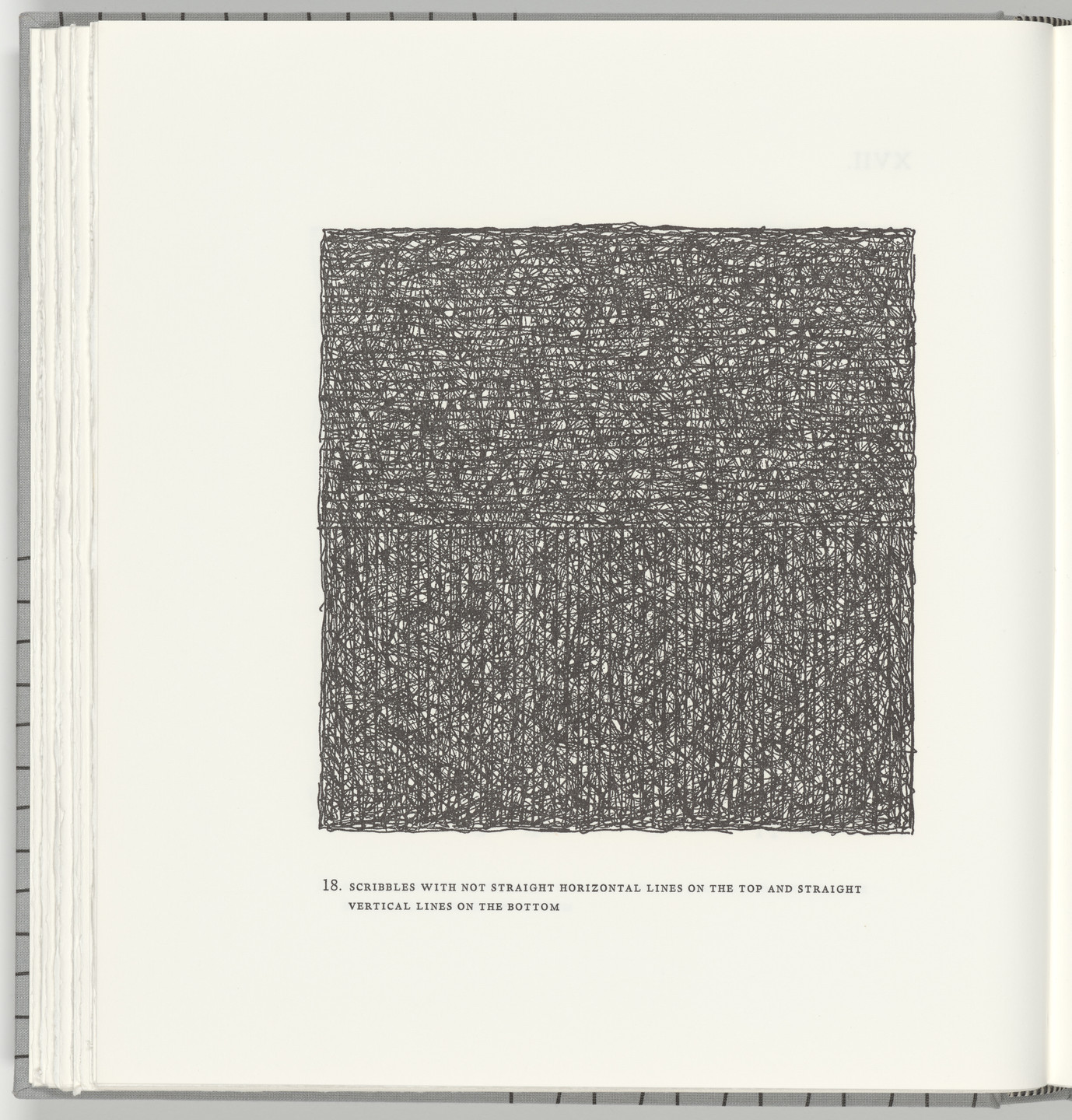 Sol LeWitt. Scribbles with Not Straight Horizontal Lines on the Top and Straight Vertical Lines on the Bottom (plate 18) from Squarings. 2003