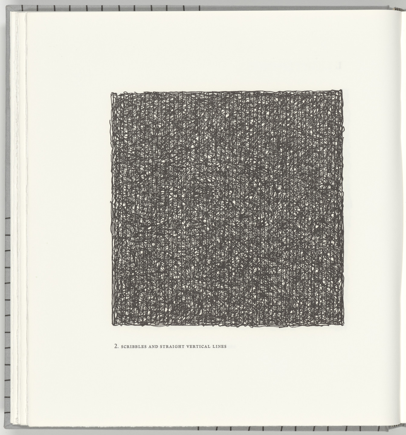 Sol LeWitt. Scribbles and Straight Vertical Lines(plate 2) from Squarings. 2003
