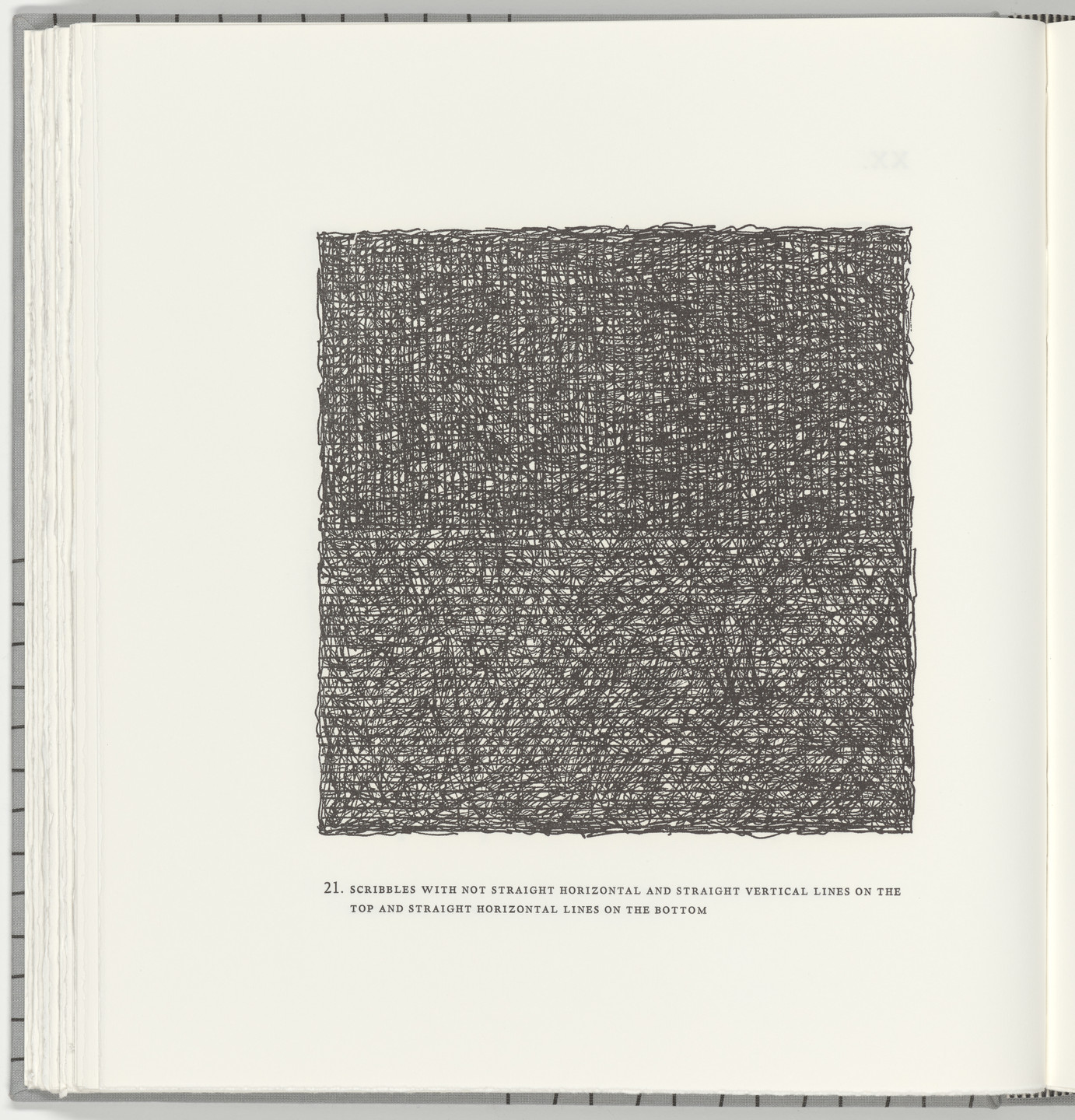 Sol LeWitt. Scribbles with Not Straight Horizontal and Straight Vertical Lines on the Top and Straight Horizontal Lines on the Bottom (plate 21) from Squarings. 2003