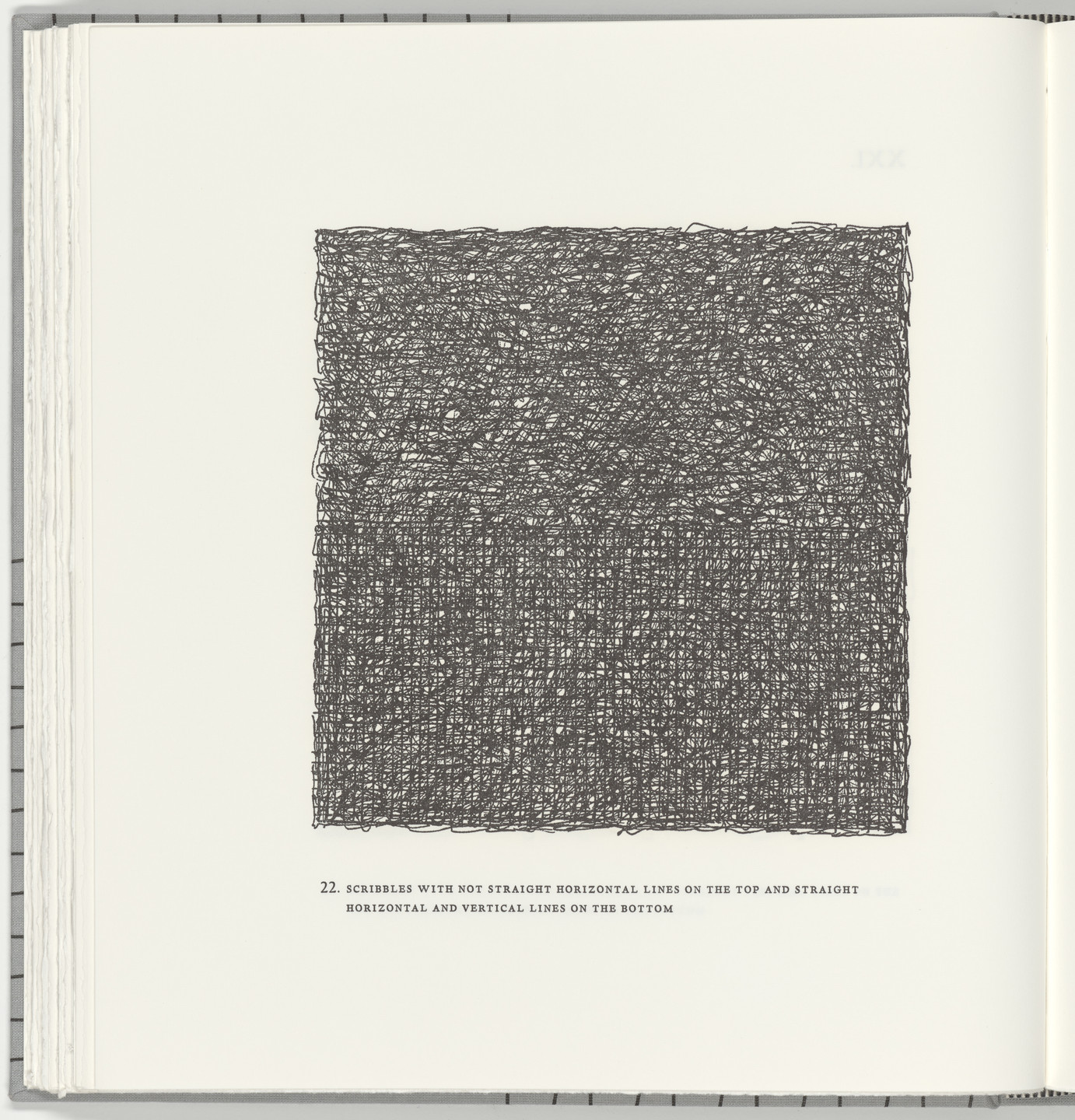 Sol LeWitt. Scribbles with Not Straight Horizontal Lines on the Top and Straight Horizontal and Vertical Lines on the Bottom (plate 22) from Squarings. 2003