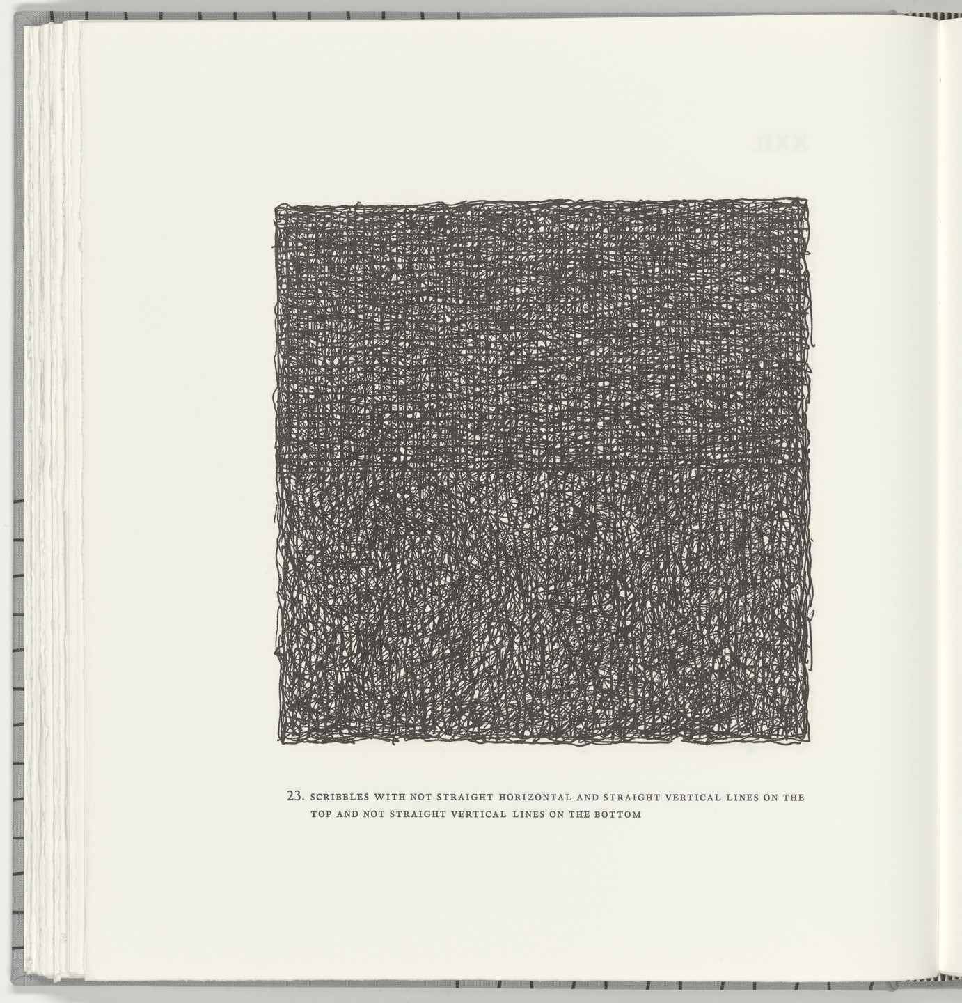 Sol LeWitt. Scribbles with Not Straight Horizontal and Straight Vertical Lines on the Top and Not Straight Vertical Lines on the Bottom (plate 23) from Squarings. 2003