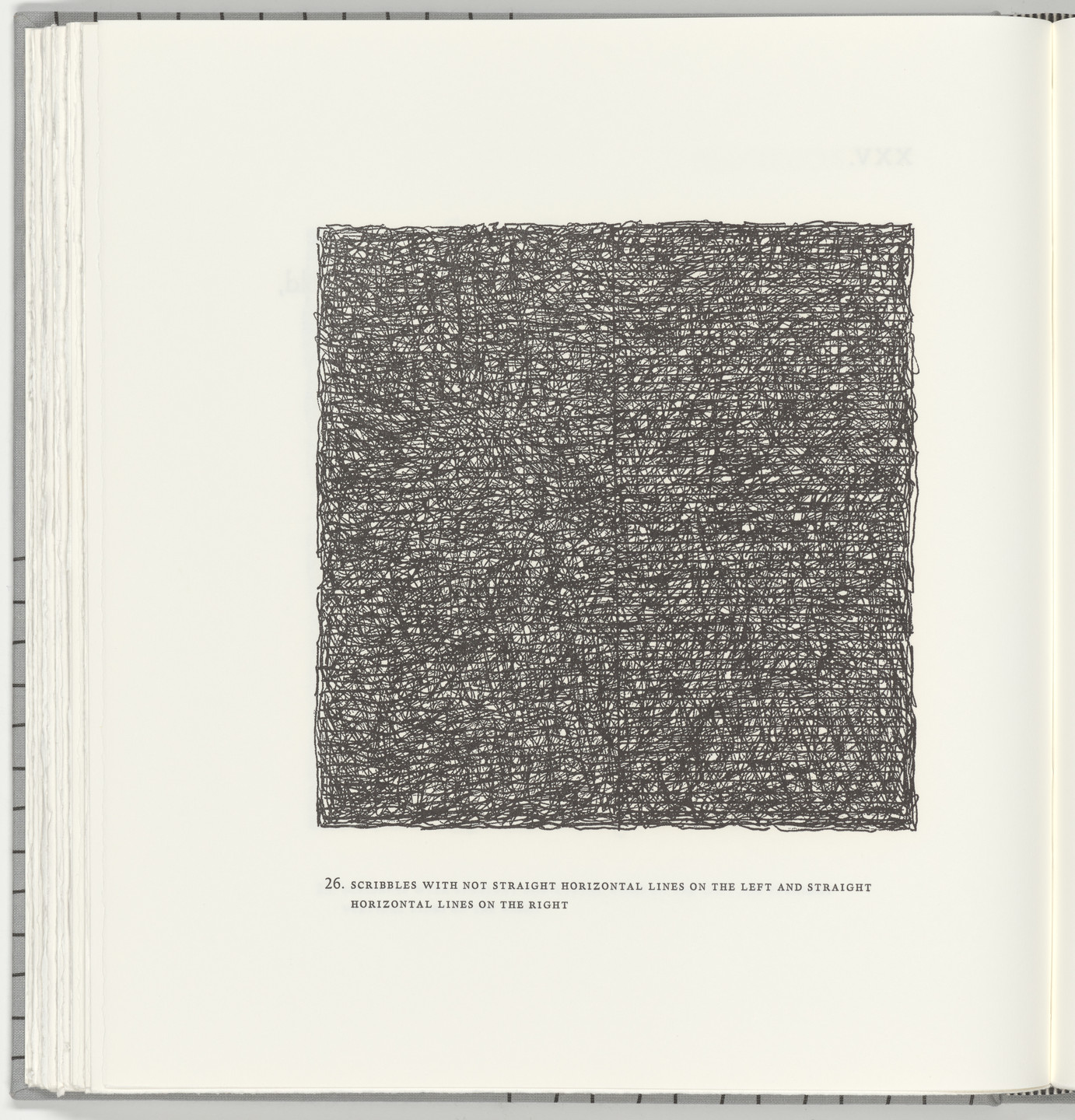 Sol LeWitt. Scribbles with Not Straight Horizontal Lines on the Left and Straight Horizontal Lines on the Right (plate 26) from Squarings. 2003