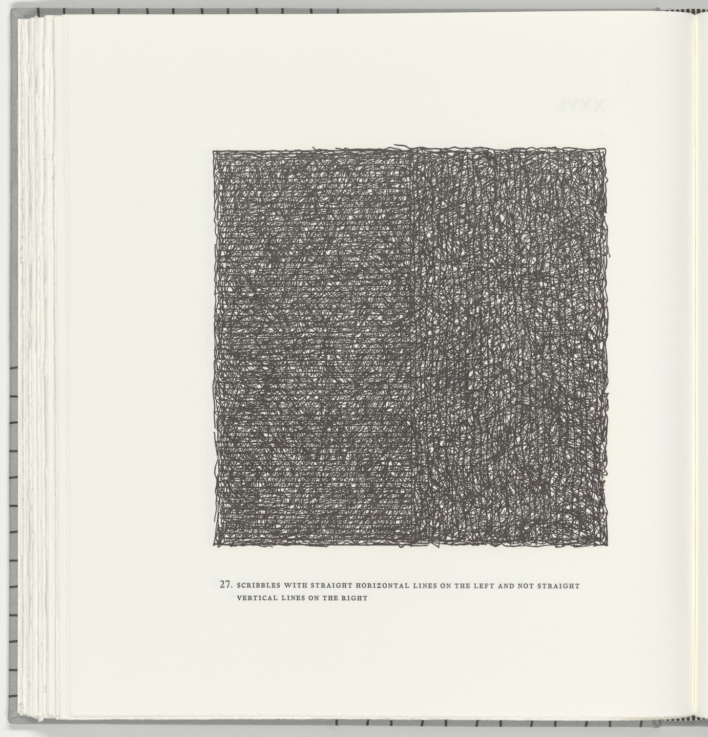 Sol LeWitt. Scribbles with Straight Horizontal Lines on the Left and Not Straight Vertical Lines on the Right (plate 27) from Squarings. 2003