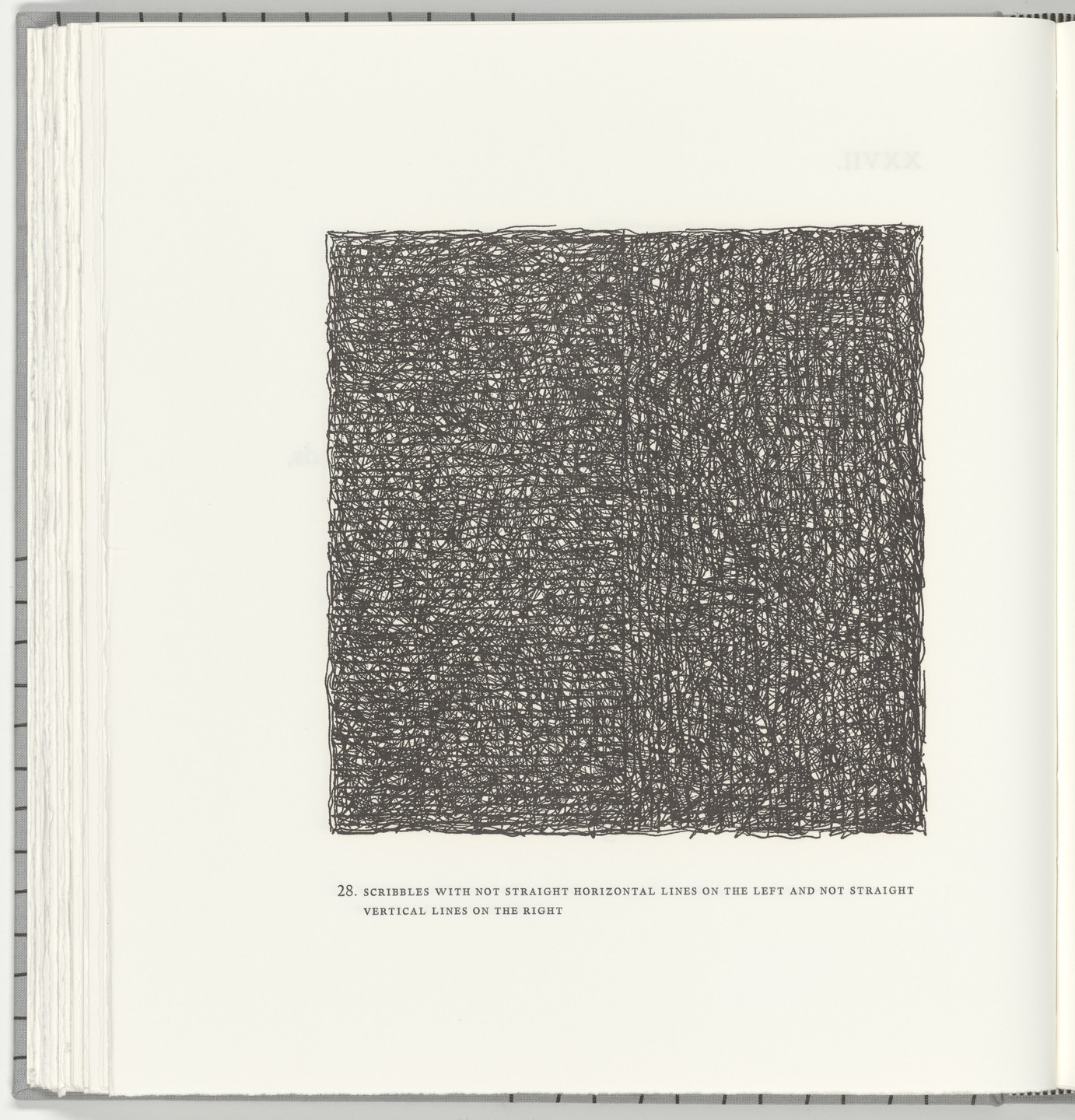 Sol LeWitt. Scribbles with Not Straight Horizontal Lines on the Left and Not Straight Vertical Lines on the Right (plate 28) from Squarings. 2003