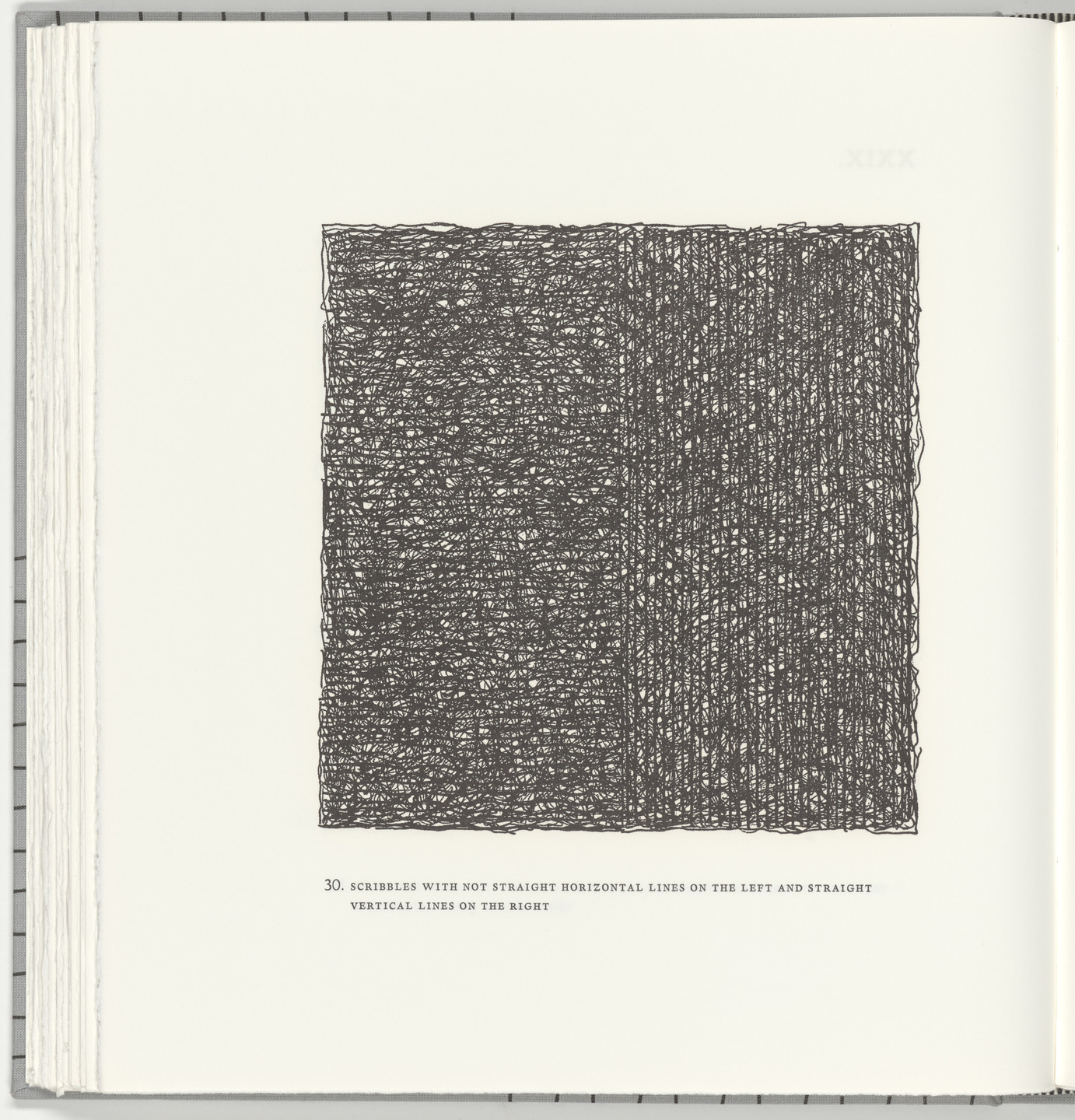 Sol LeWitt. Scribbles with Not Straight Horizontal Lines on the Left and Straight Vertical Lines on the Right (plate 30) from Squarings. 2003