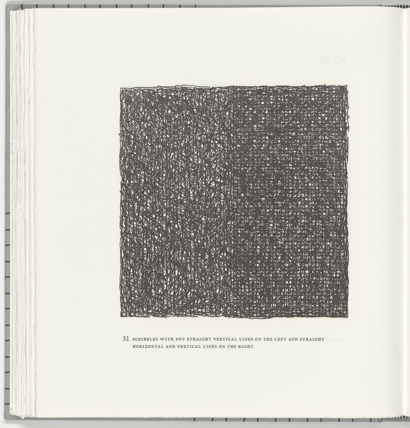 Sol LeWitt. Scribbles with Not Straight Vertical Lines on the Left and Straight Horizontal and Vertical Lines on the Right (plate 32) from Squarings. 2003