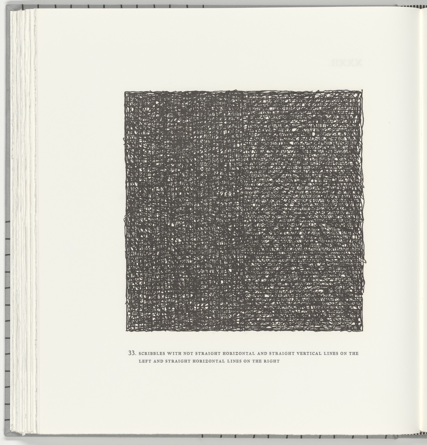 Sol LeWitt. Scribbles with Not Straight Horizontal and Straight Vertical Lines on the Left and Straight Horizontal Lines on the Right (plate 33) from Squarings. 2003