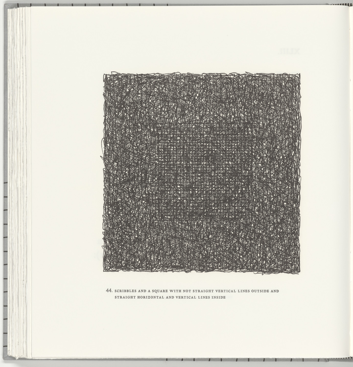 Sol LeWitt. Scribbles and a Square with Not Straight Vertical Lines Outside and Straight Horizontal and Vertical Lines Inside (plate 44) from Squarings. 2003
