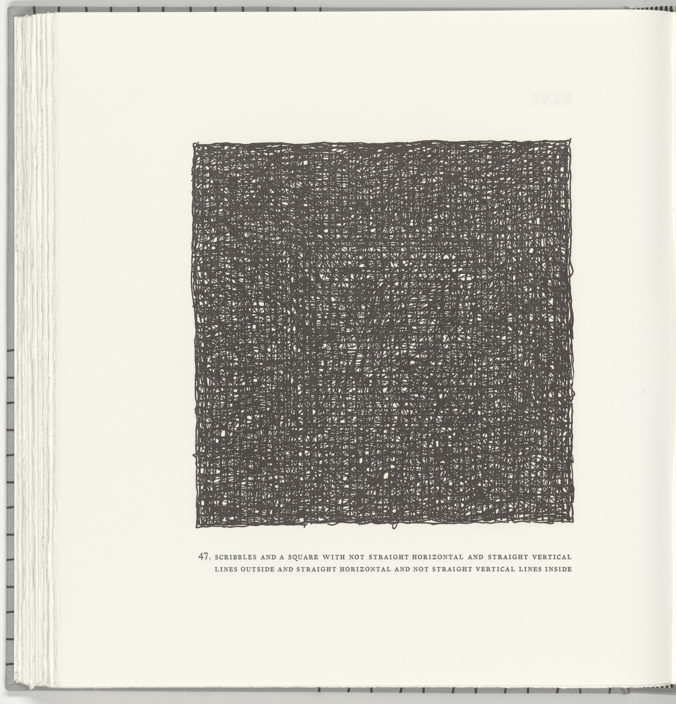 Sol LeWitt. Scribbles and a Square with Not Straight Horizontal and Straight Vertical Lines Outside and Straight Horizontal and Not Straight Vertical Lines Inside (plate 47) from Squarings. 2003