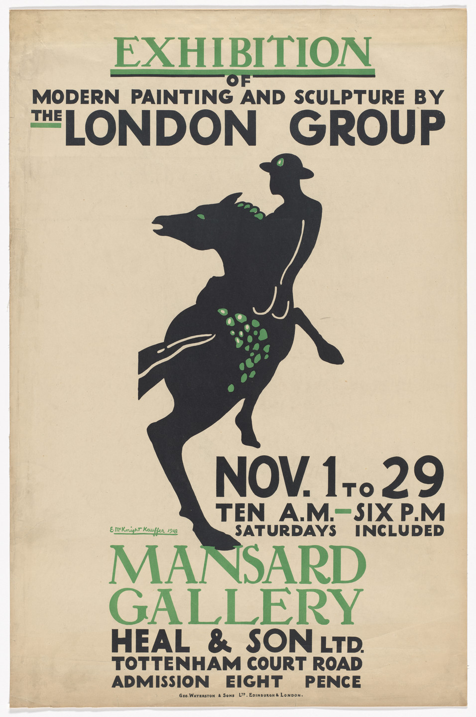 E. McKnight Kauffer. The London Group (Poster for an exhibition at the Mansard Gallery). 1917
