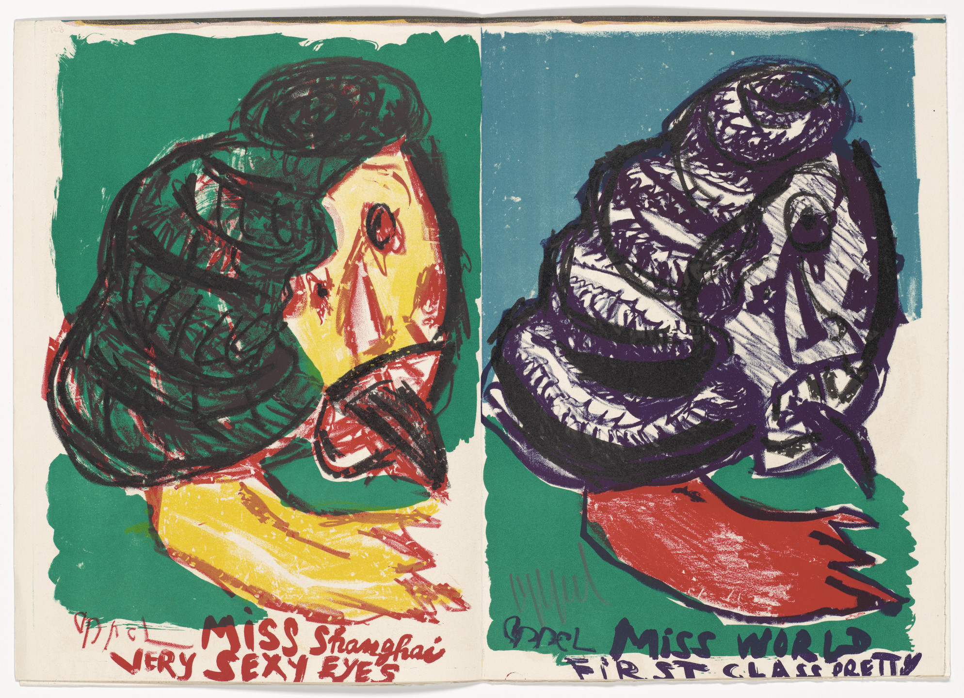 Karel Appel. Double page plate (pages 128 and 129) from 1¢ Life. 1964
