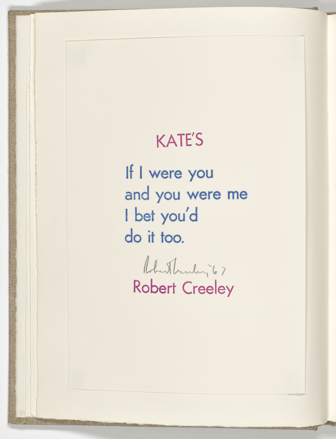 Robert Creeley. Kate's (folio 2 verso) from Stamped Indelibly. 1967