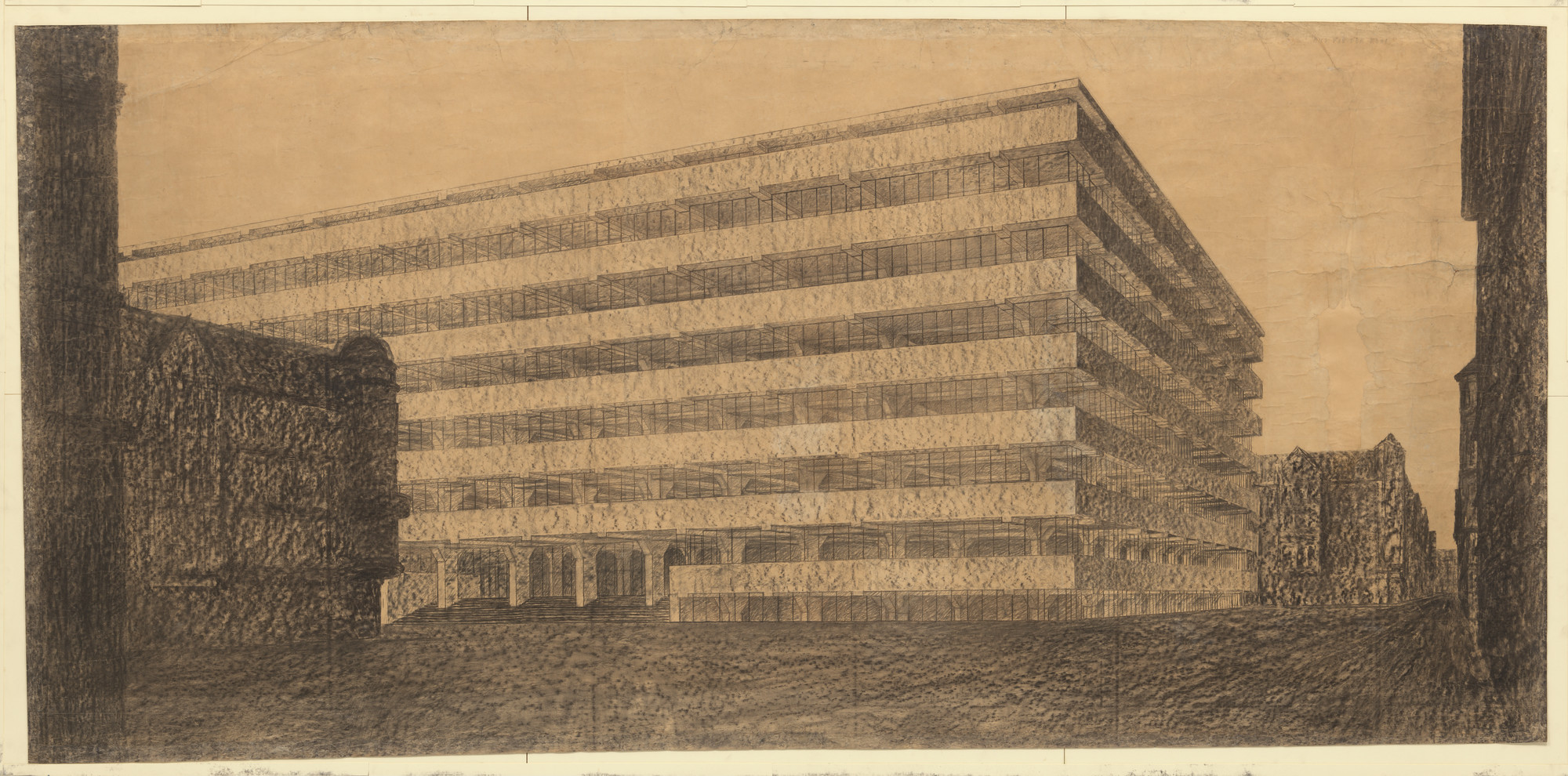 Ludwig Mies van der Rohe. Concrete Office Building Project, Berlin, Germany (Exterior perspective). 1923
