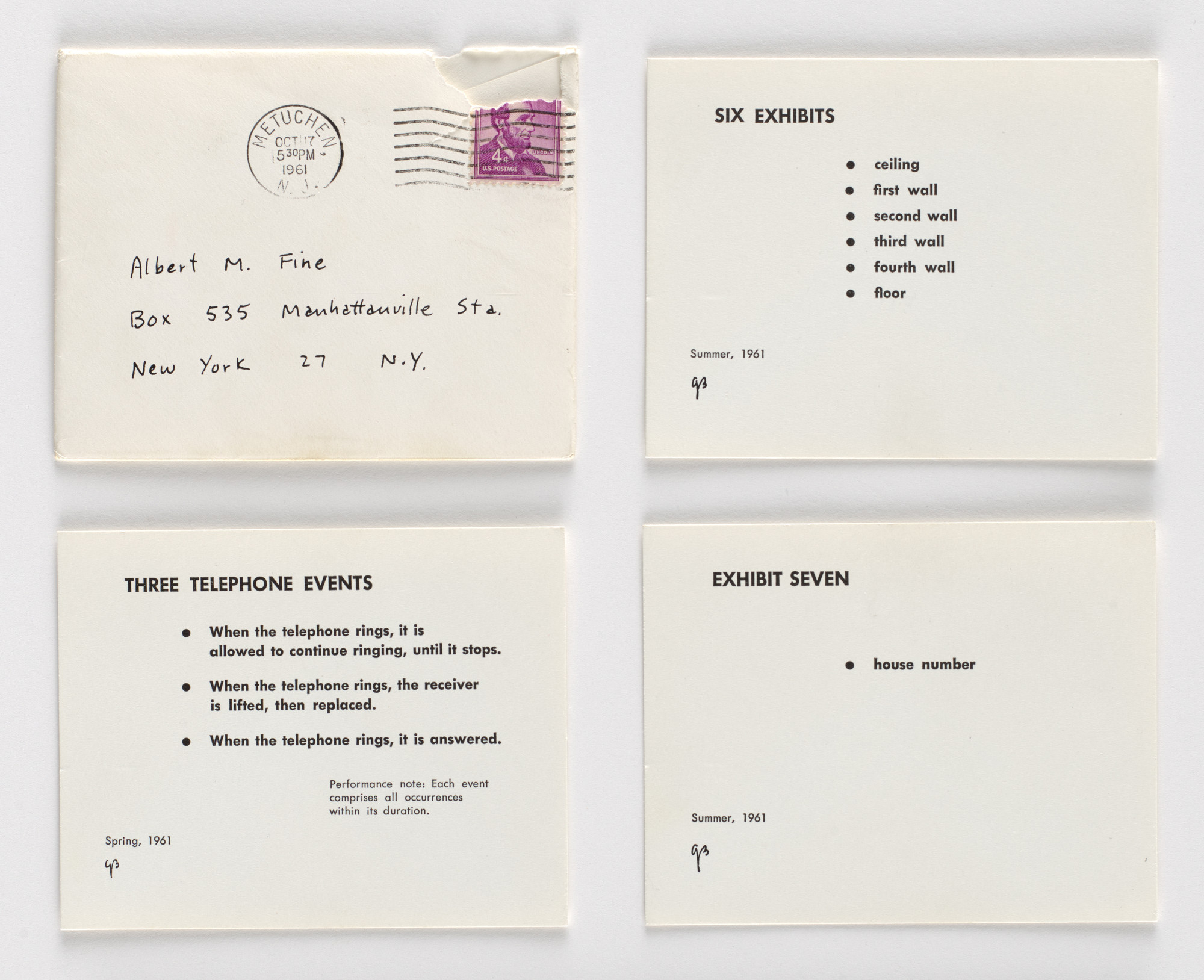 George Brecht. Exhibit Seven/Six Exhibits/Three Telephone Events. 1961