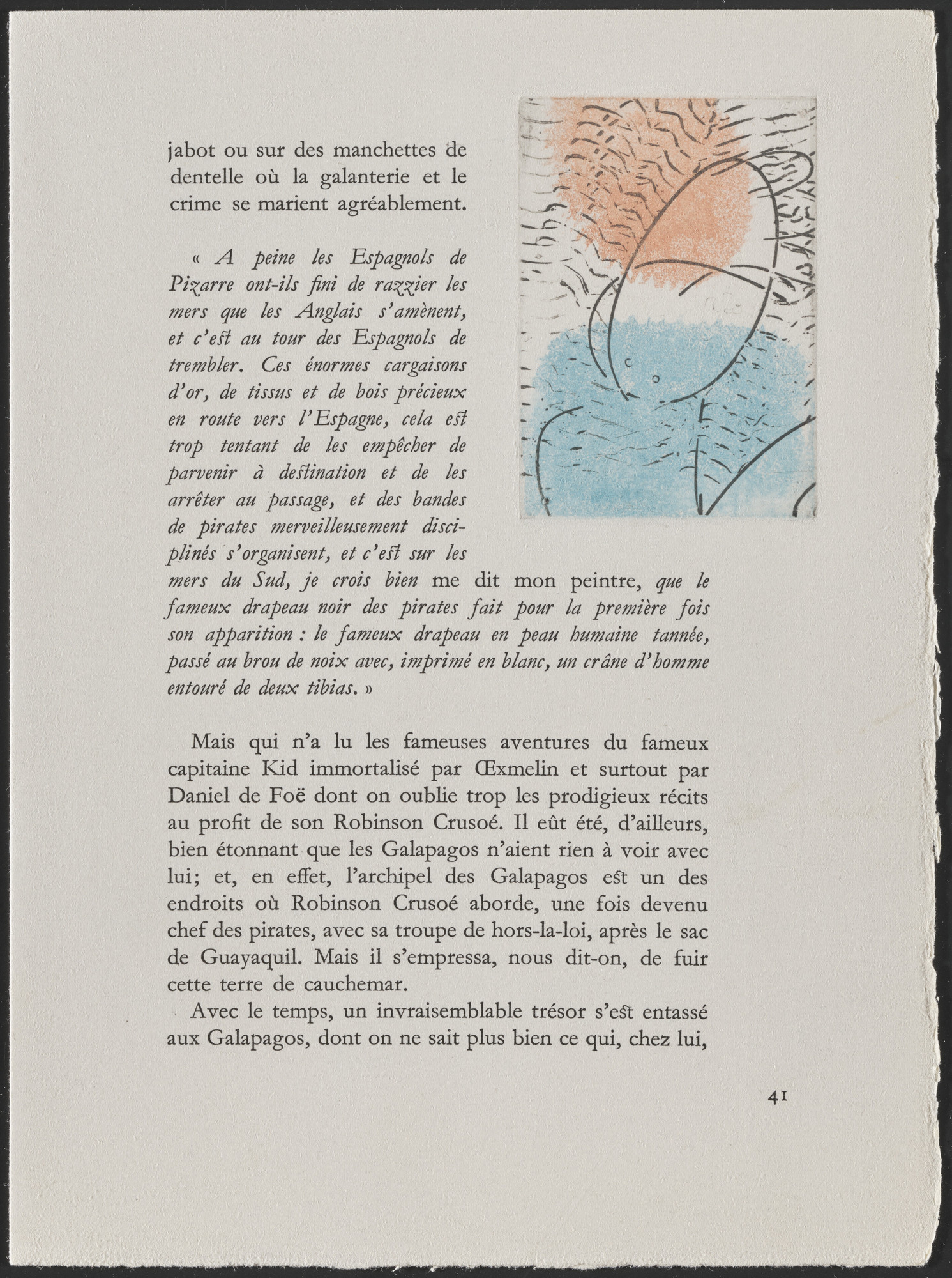 Max Ernst. In-text plate (page 41) from Galapagos: Les Iles du bout du monde. 1955