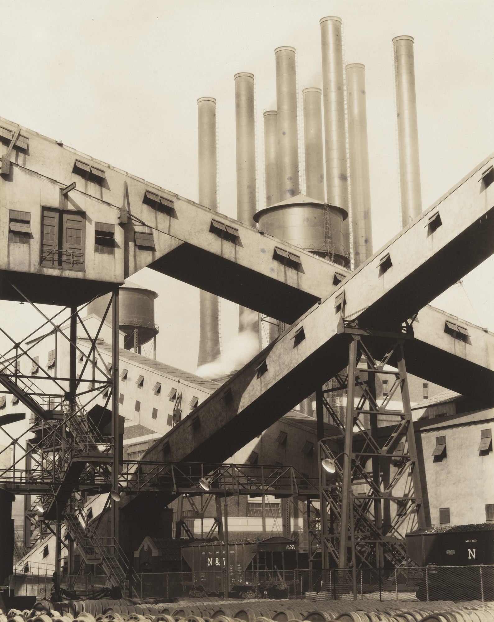 Charles Sheeler. Criss-Crossed Conveyors, River Rouge Plant, Ford Motor Company. 1927