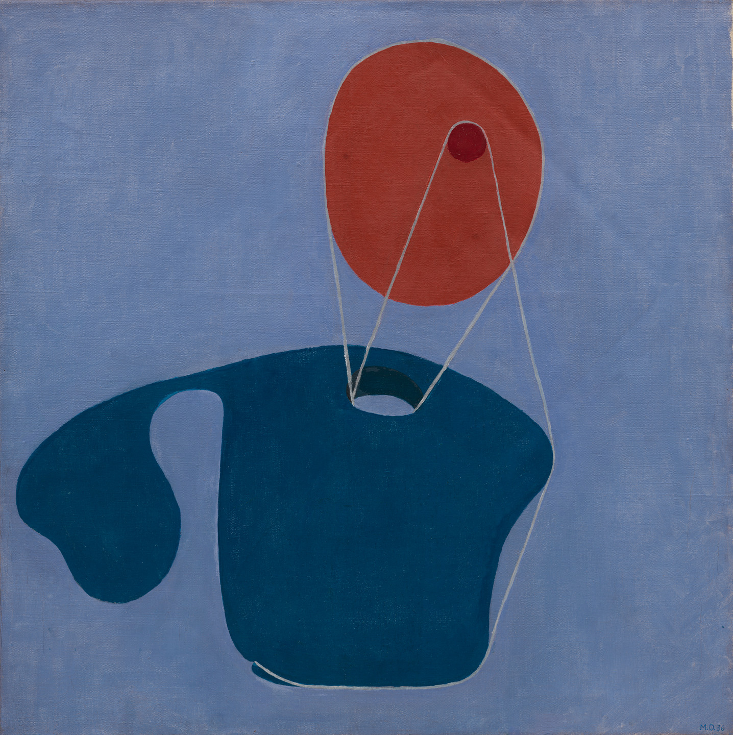 Meret Oppenheim. Red Head, Blue Body. 1936
