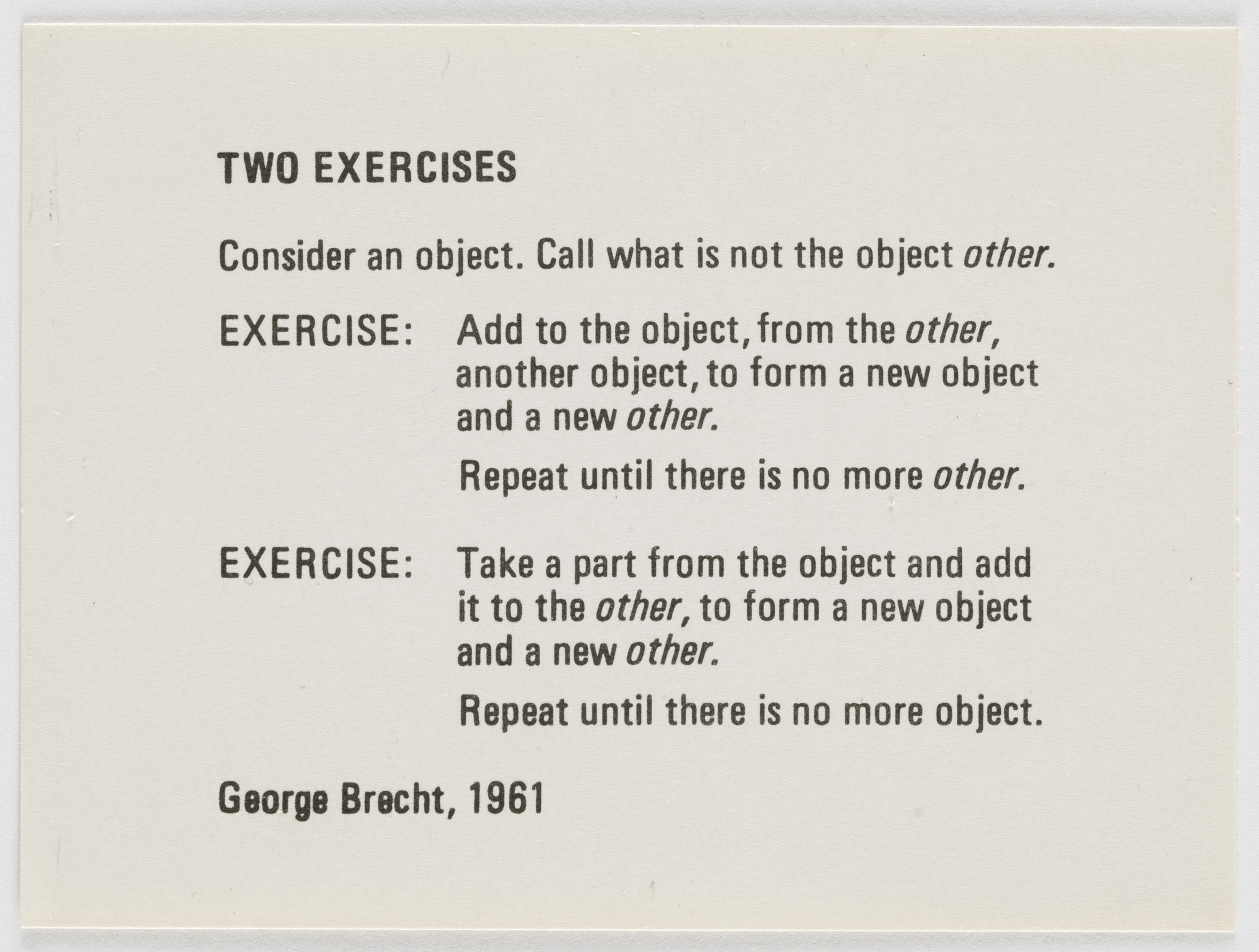 George Brecht. Two Exercises. 1961